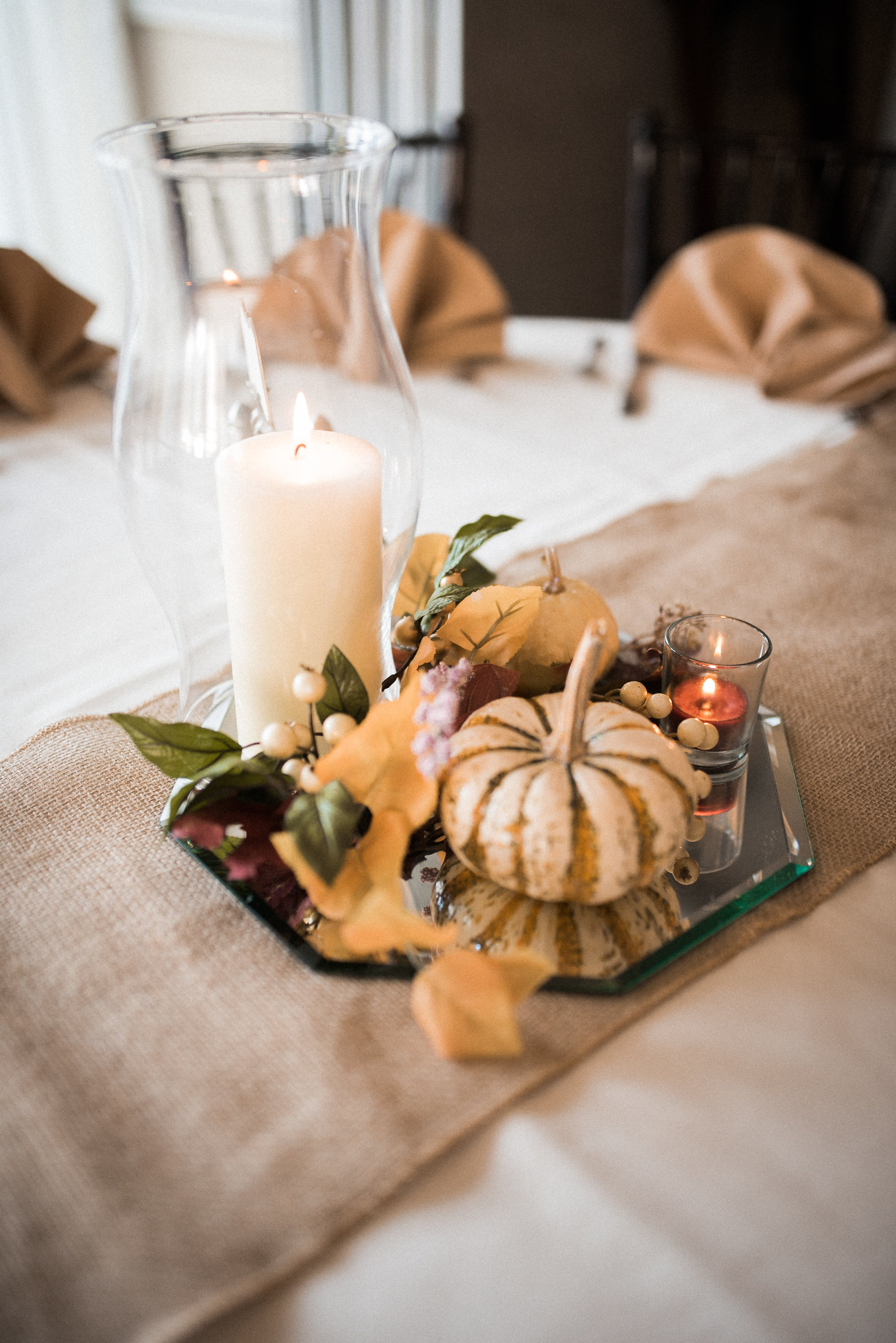 Fall table setting at wedding