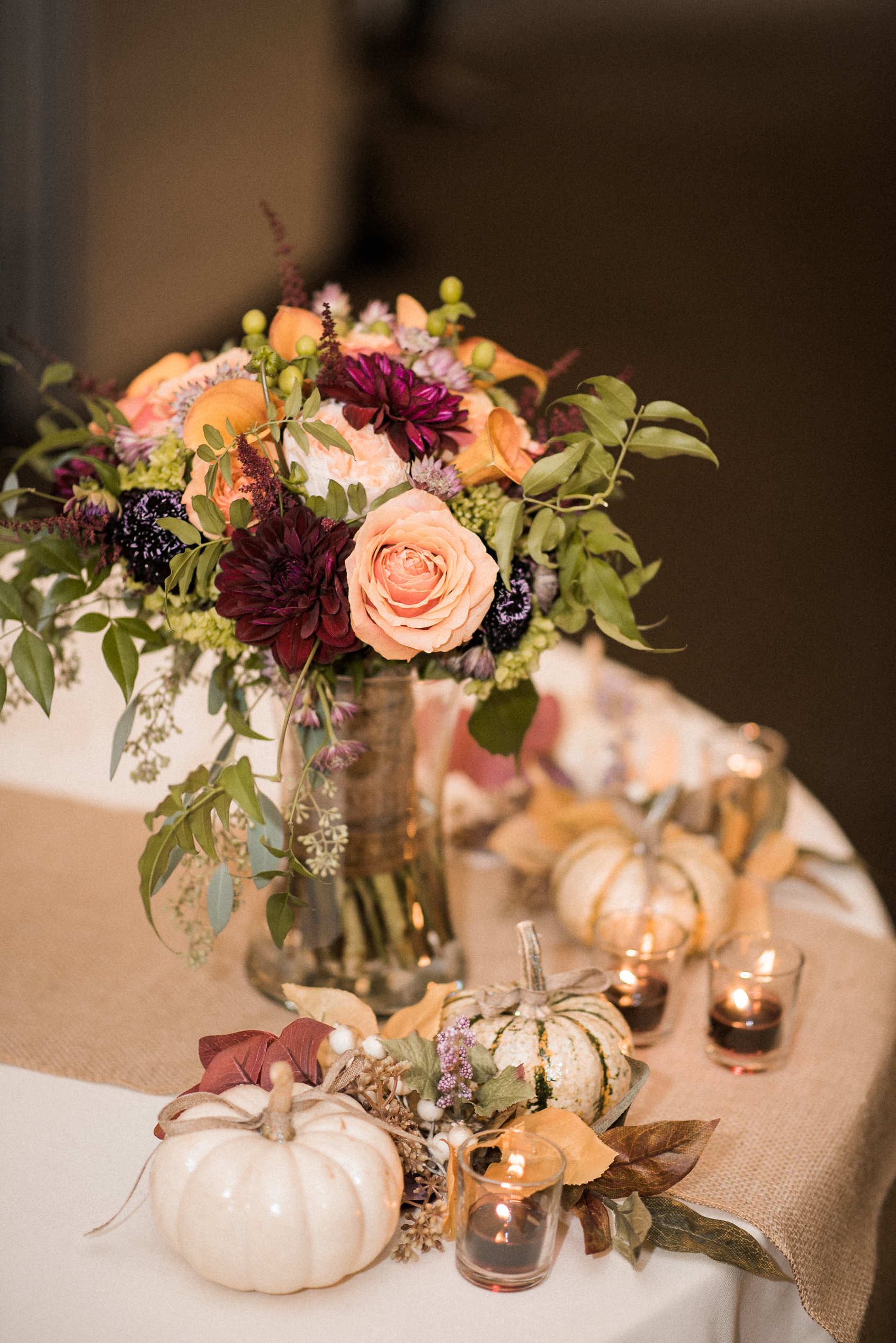 Centerpieces at fall wedding
