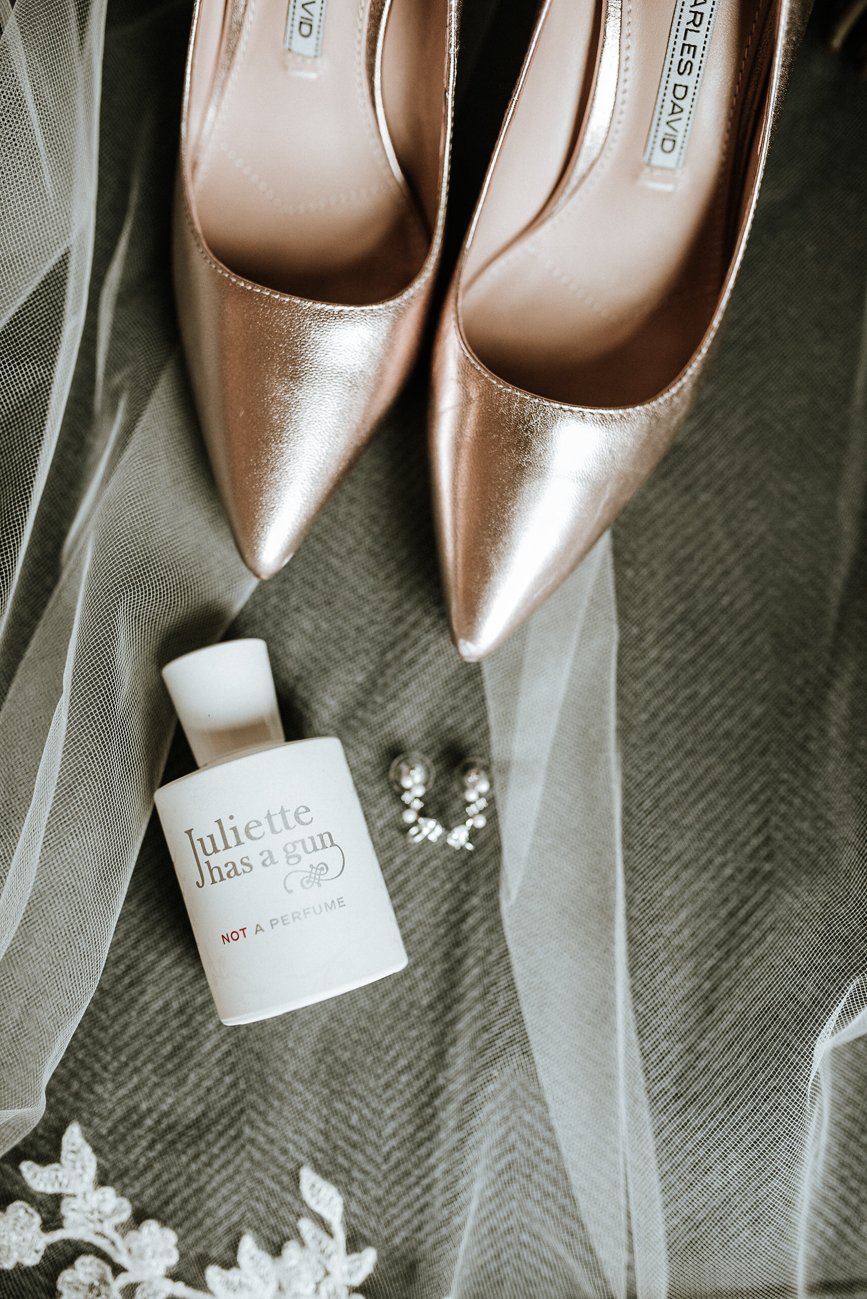 Wedding shoes with veil and perfume