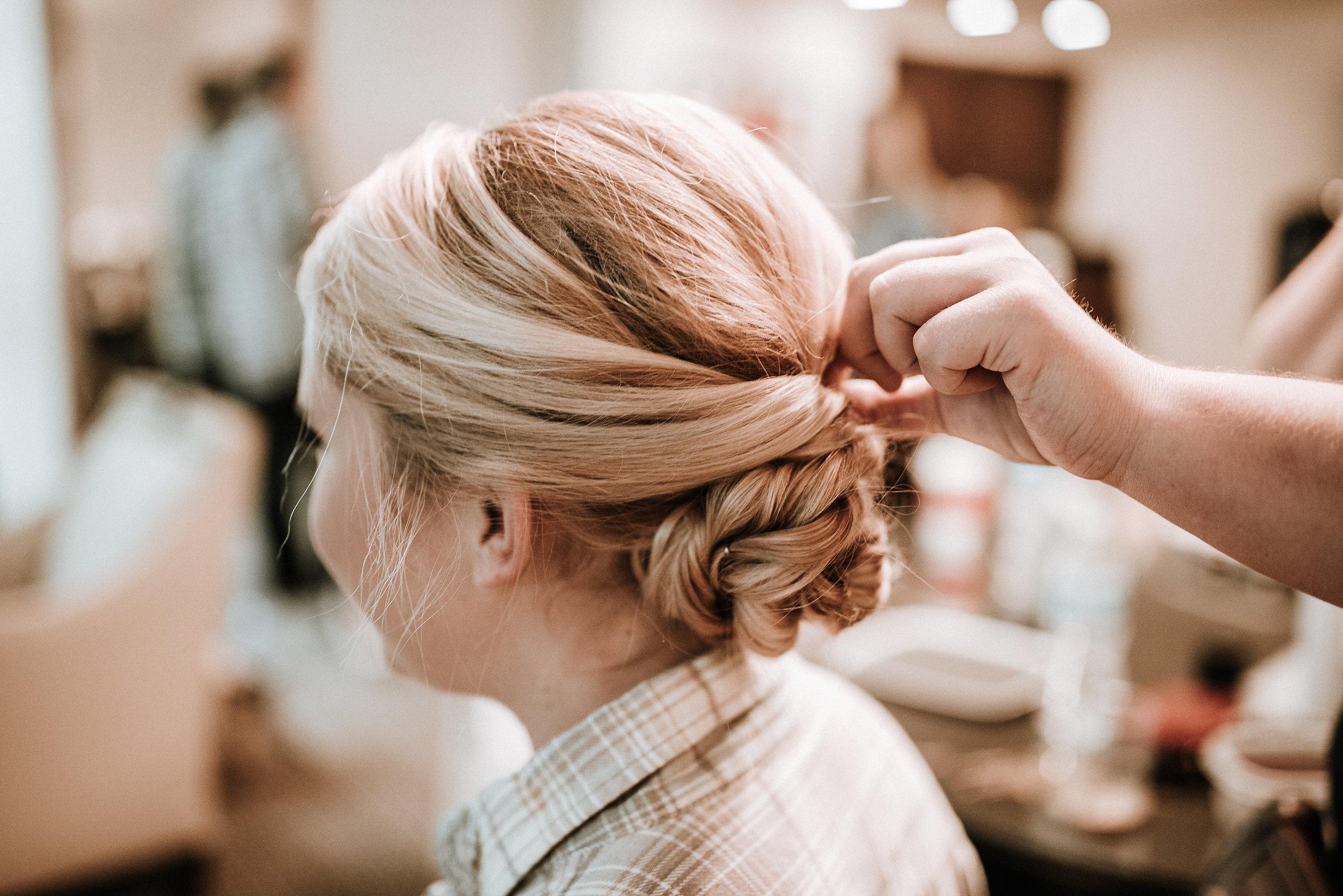 Bride's hair before wedding
