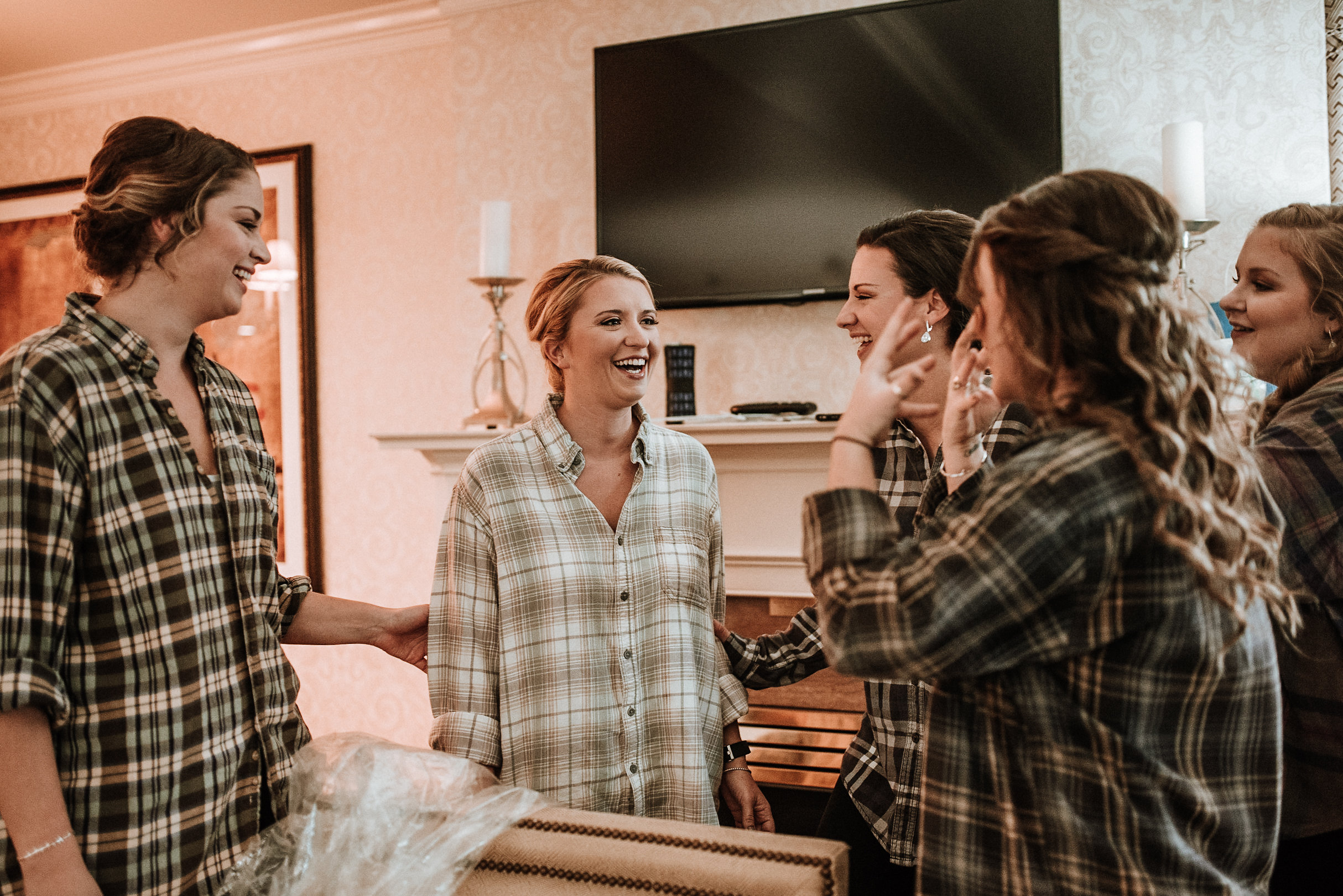 Bride before wedding in flannel