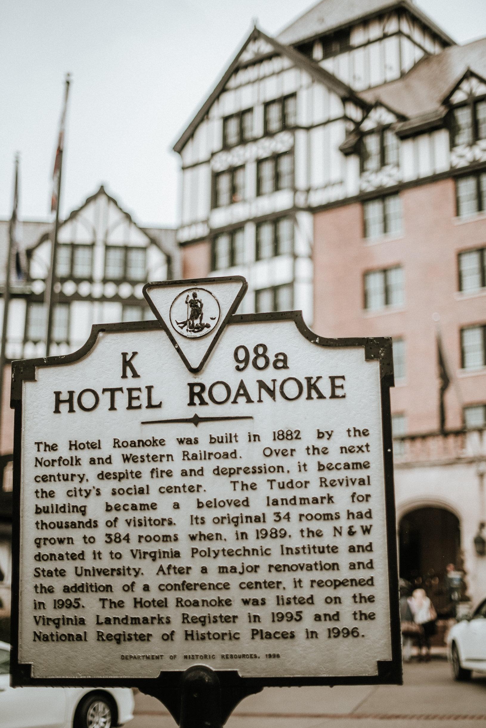Hotel Roanoke historic marker