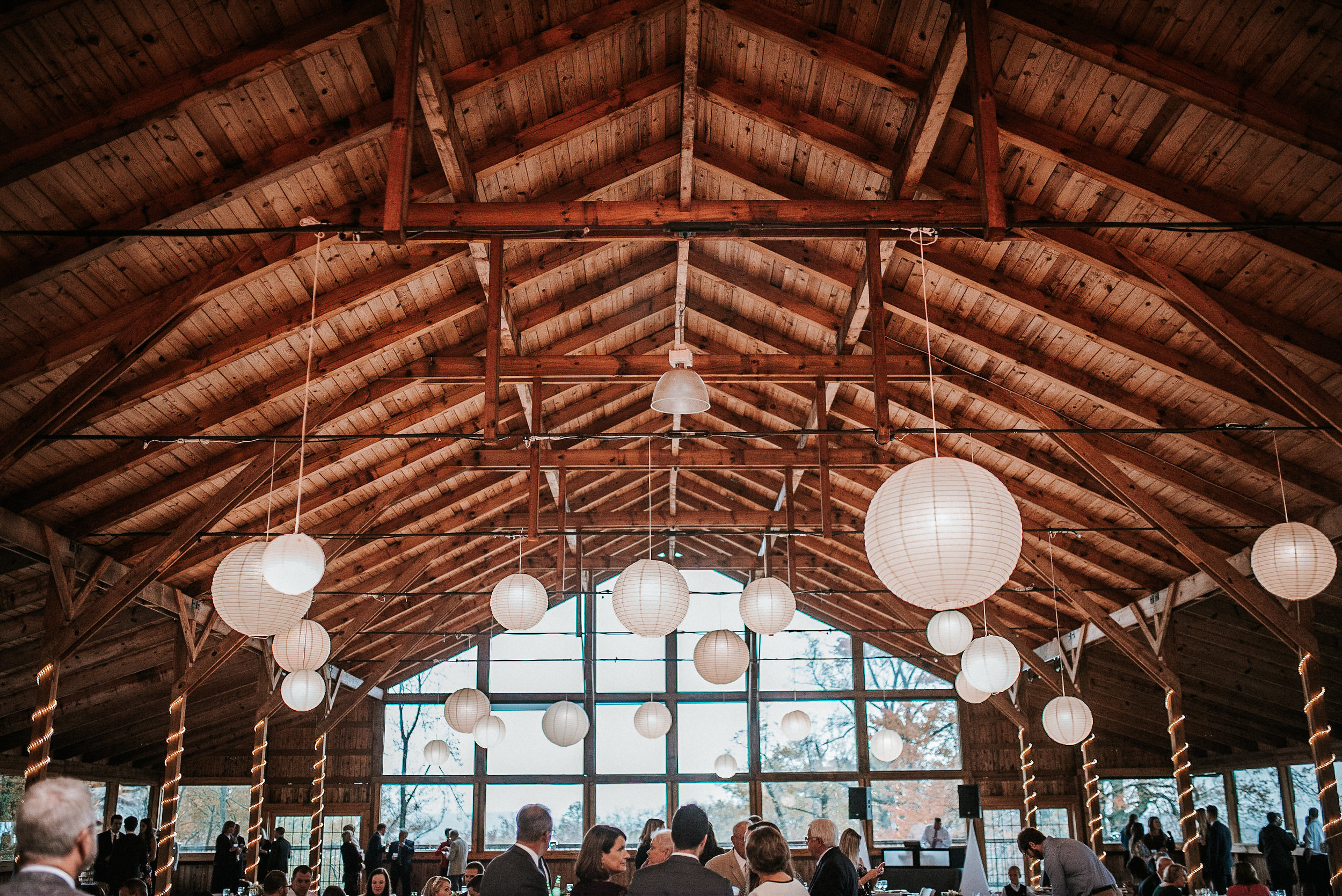 Reception space with paper lanterns