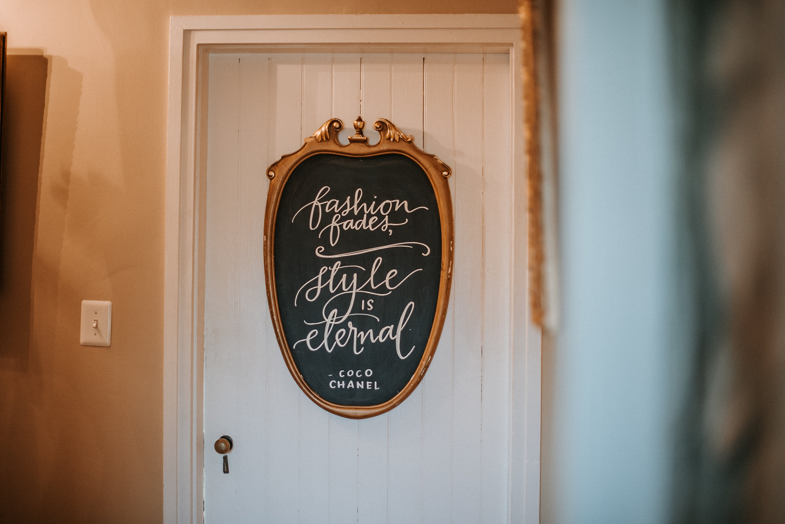 Sign on bridal suite door