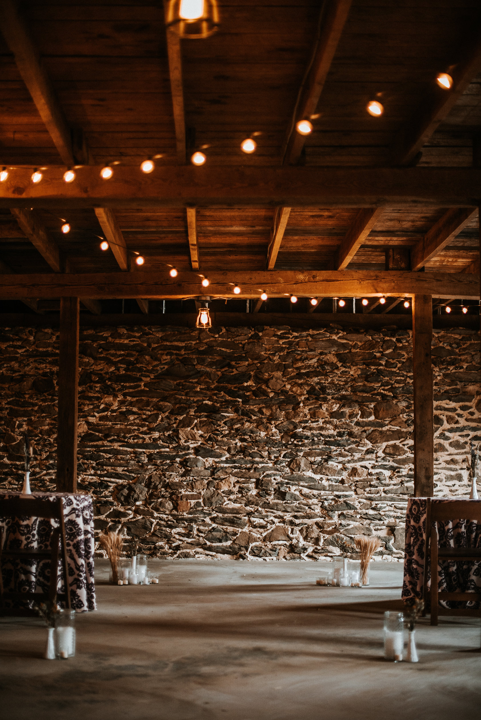 Ceremony space in stone barn