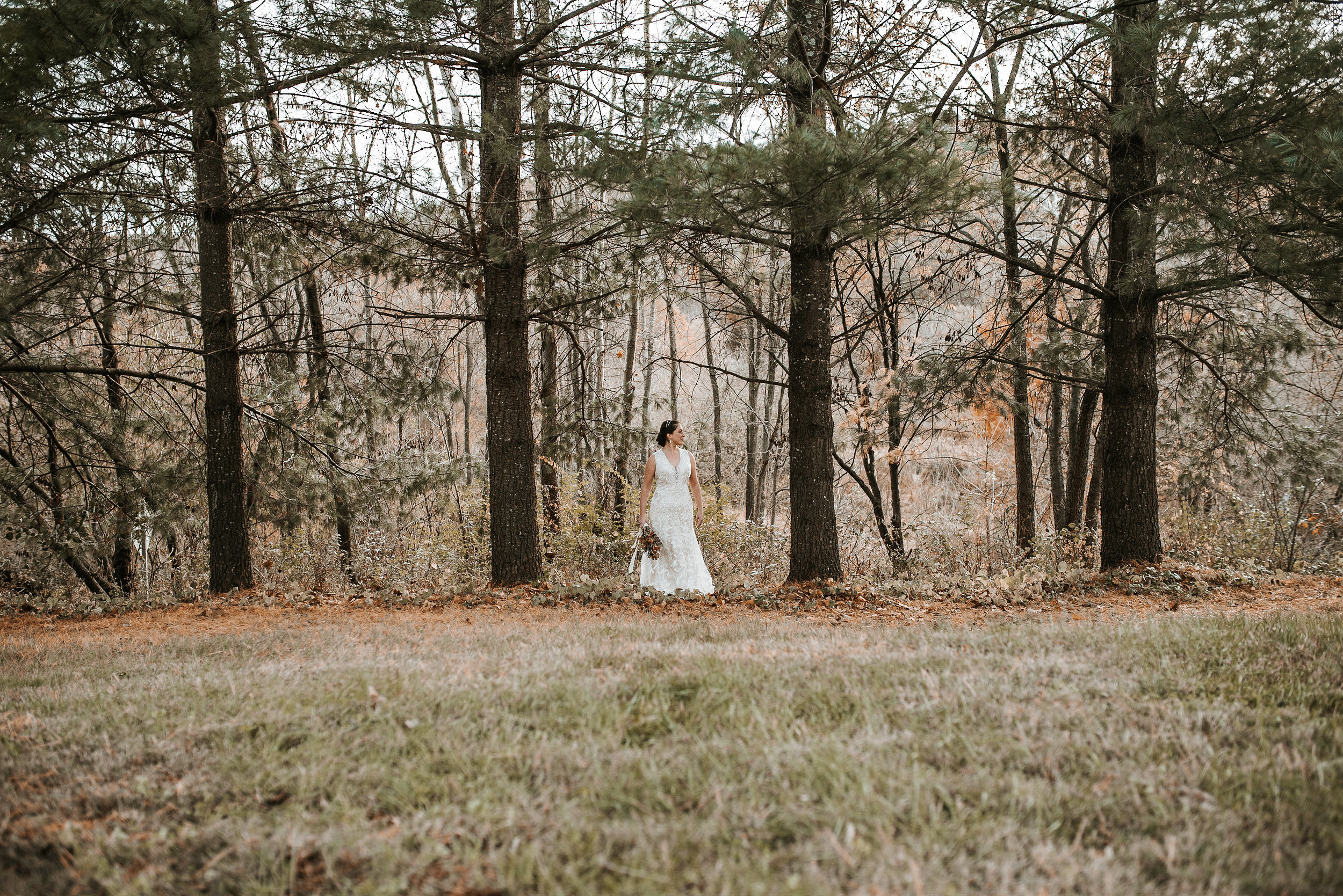 Bride standing alone among pine trees