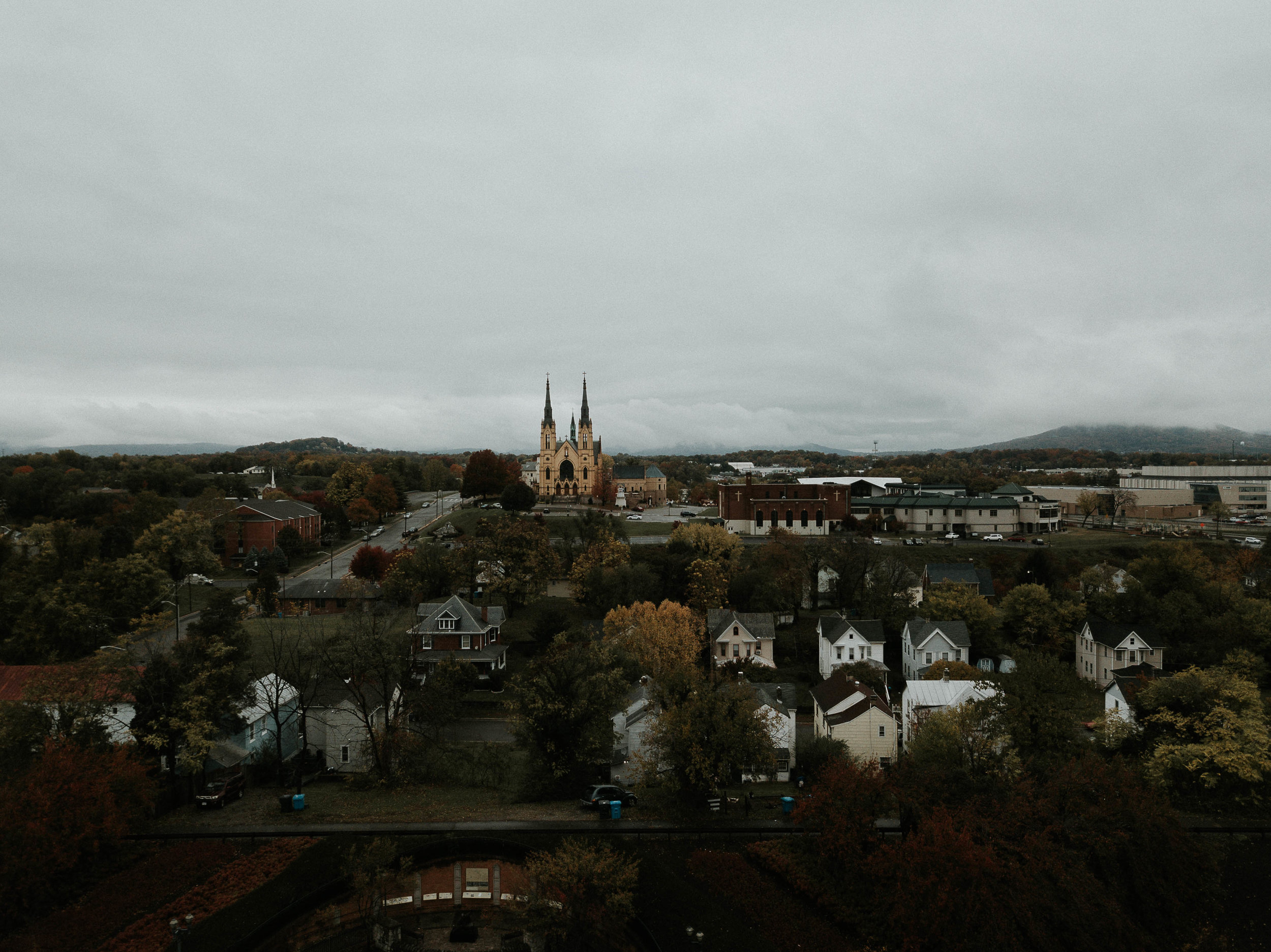 Drone Aerial Photo of St. Andrew's Catholic Church in Roanoke Virginia