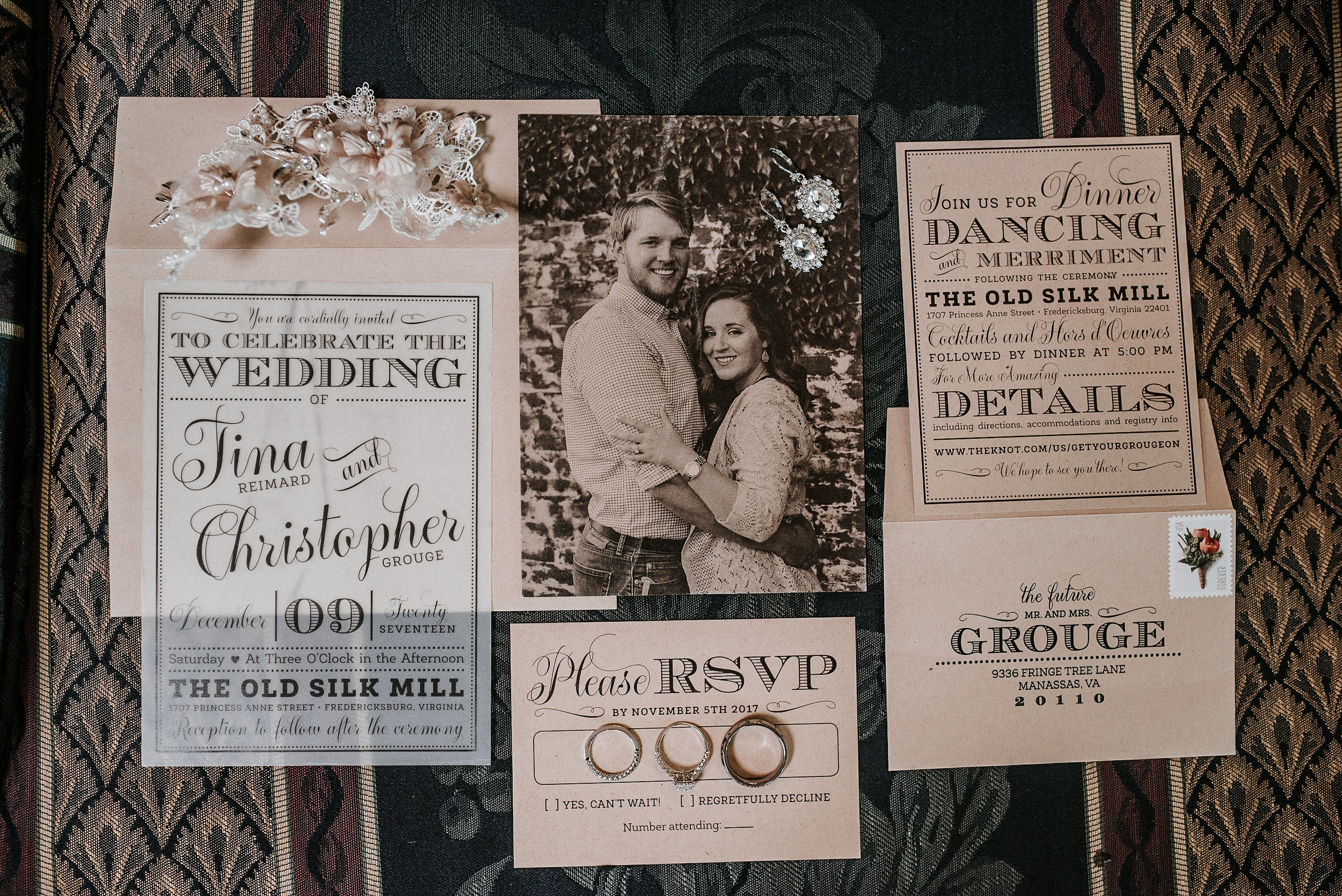 Wedding invitation and rings