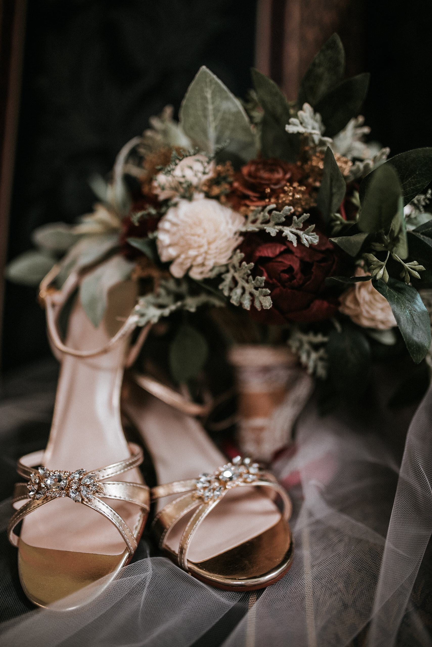 Wedding flowers and shoes