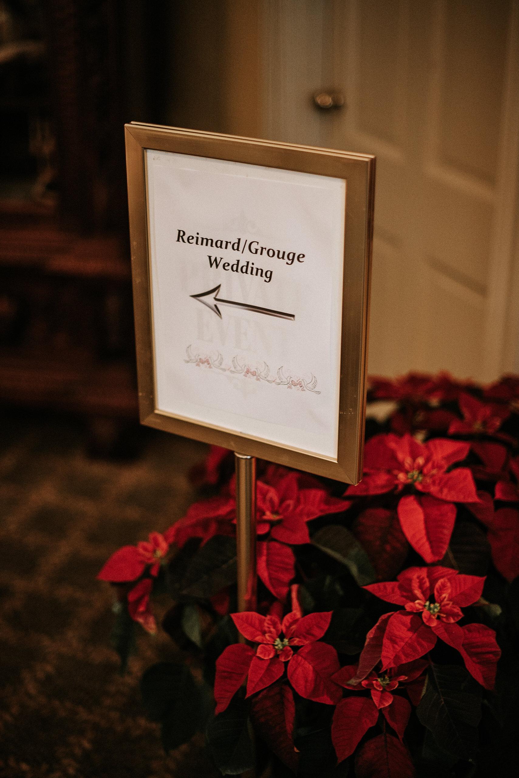 Signage in wedding venue