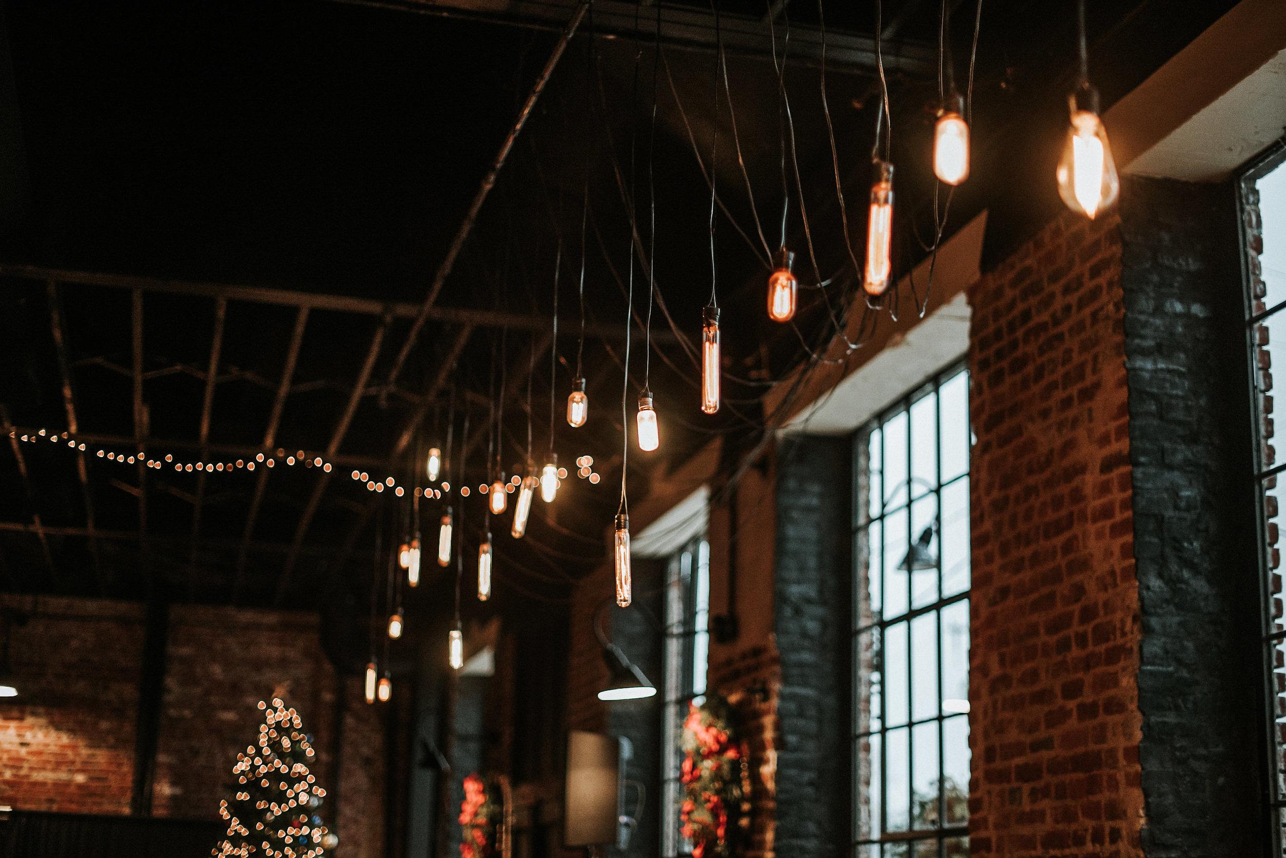 Vintage lighting in reception venue