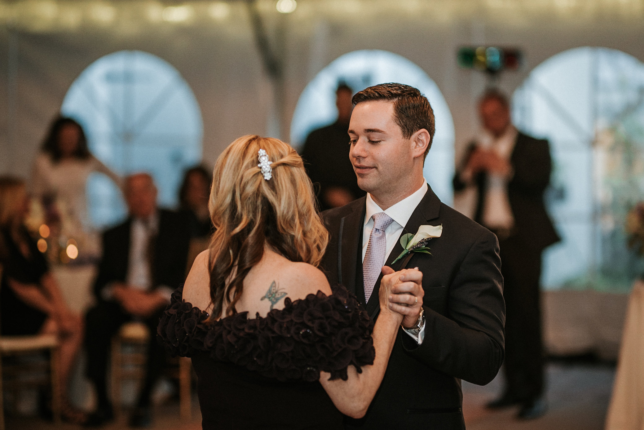 Mother and son dance at wedding