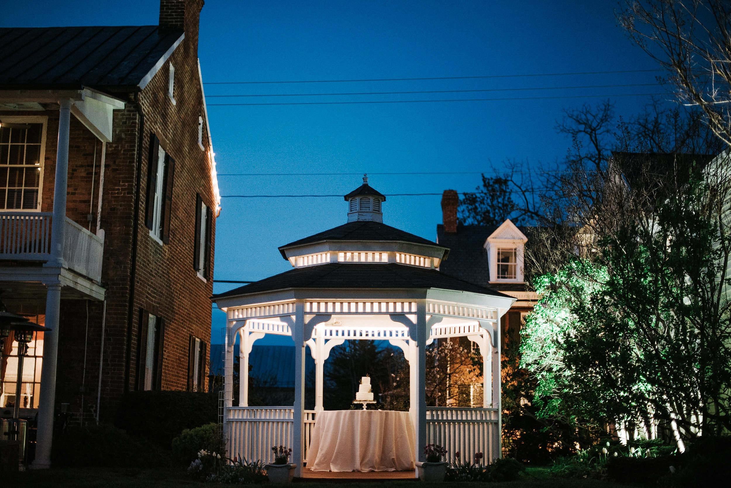 White gazebo at wedding reception