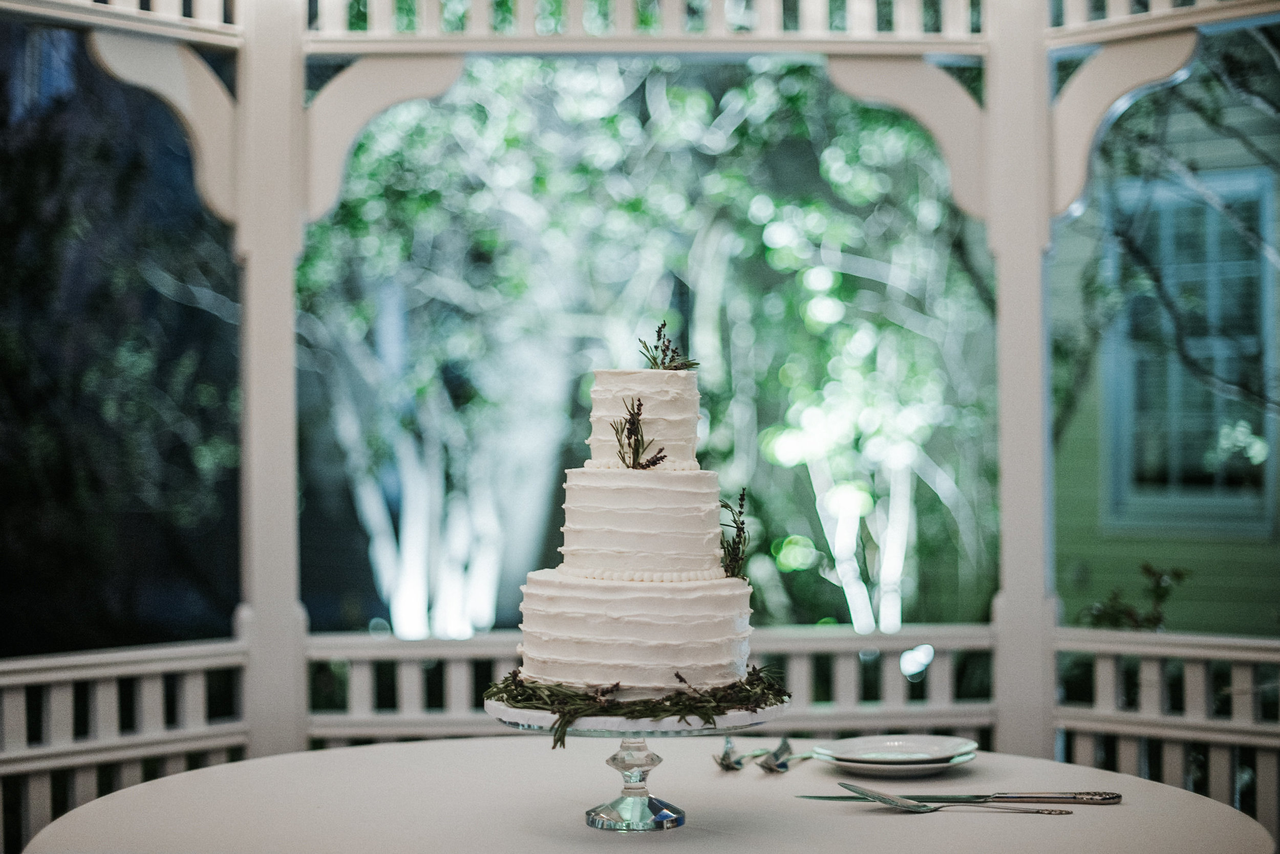 Wedding cake inside gazebo