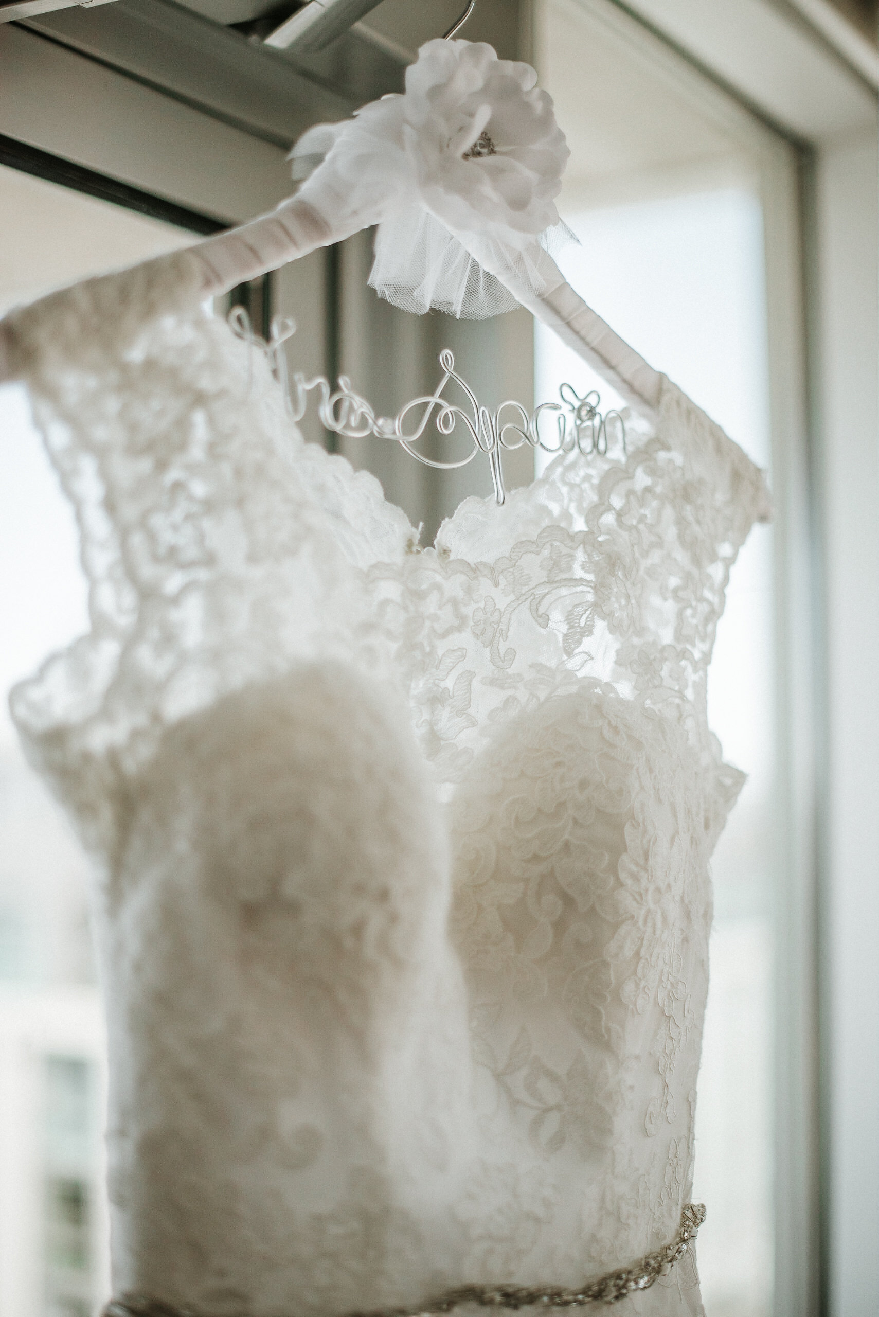 Wedding dress on bridal hanger