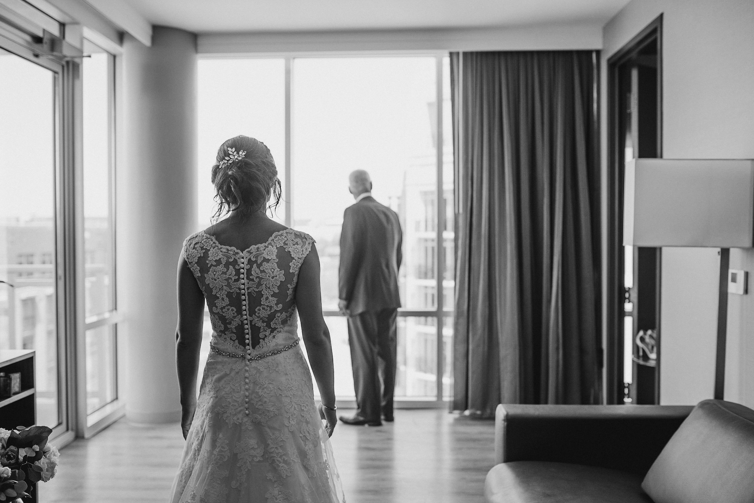 Bride and father in black and white