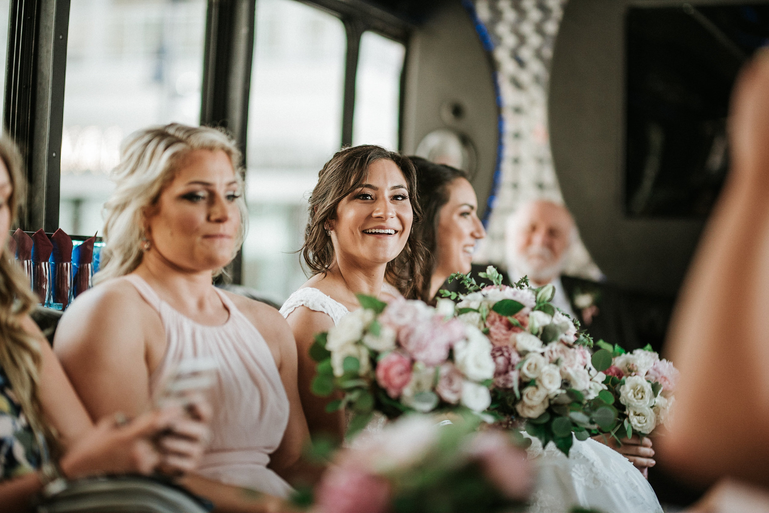 Bride on party bus