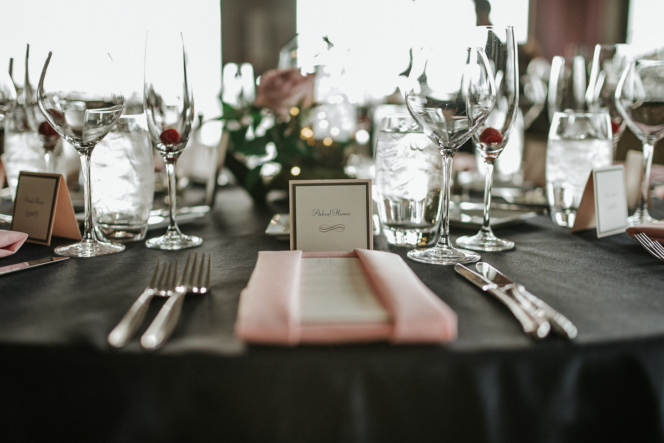 Table setting for elegant wedding