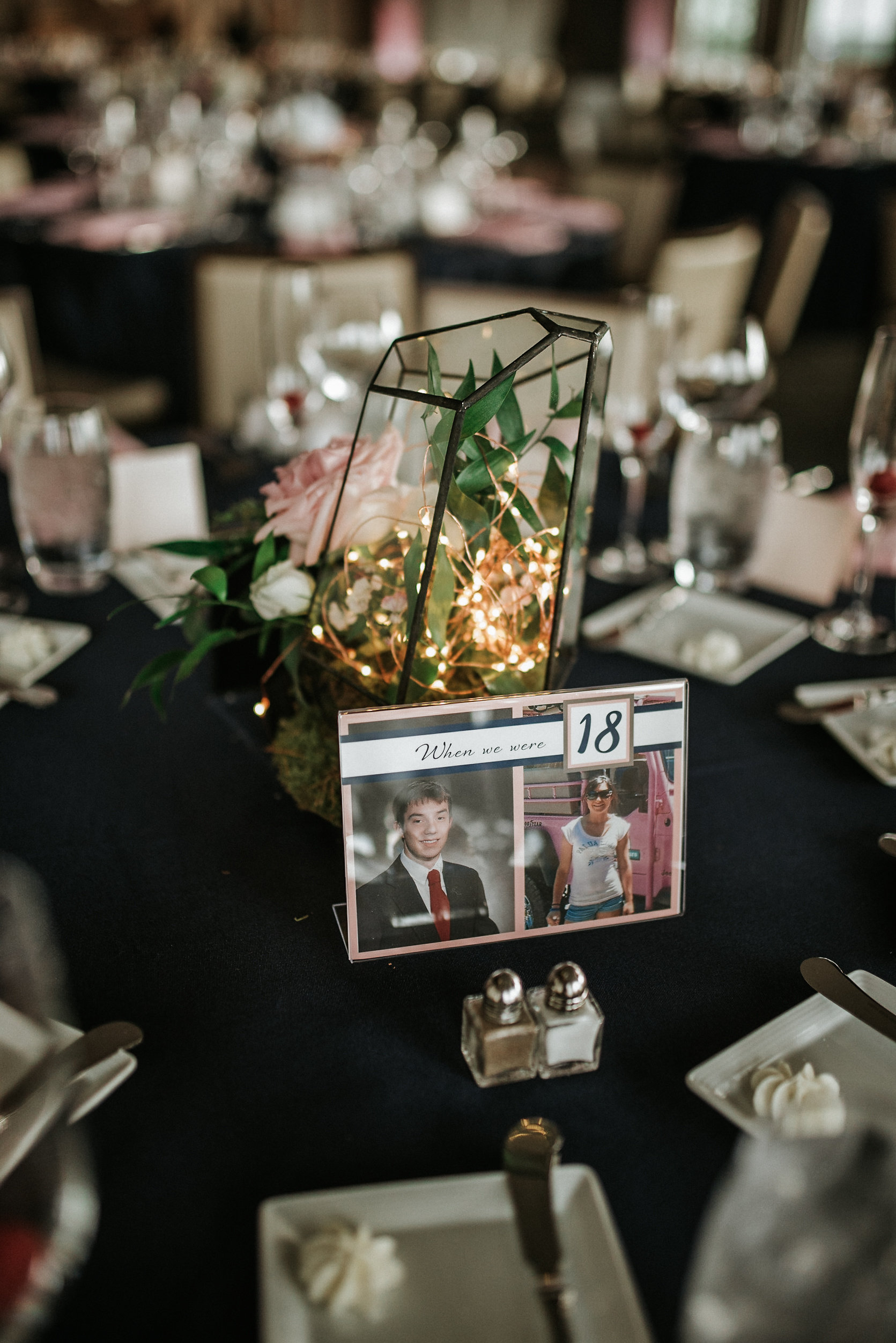 Lighted centerpiece with photos