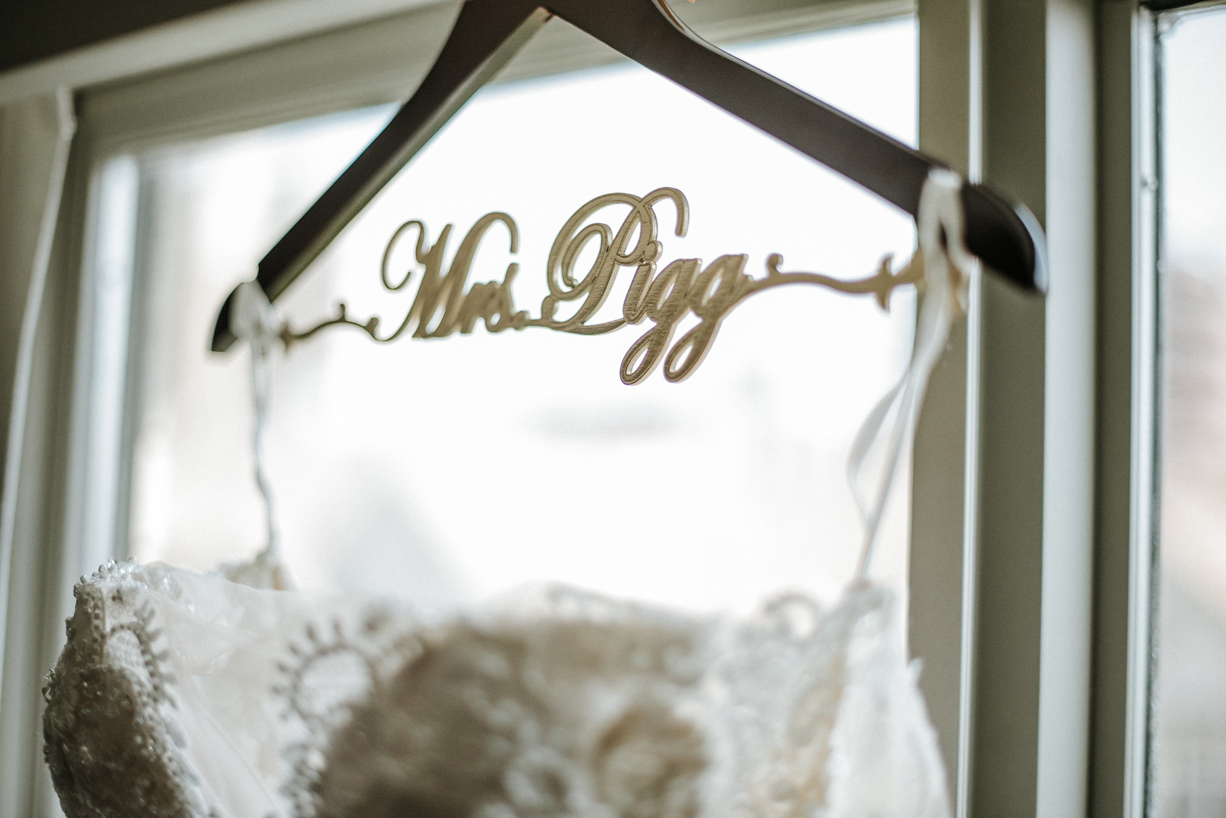 Close up of wedding dress on hanger