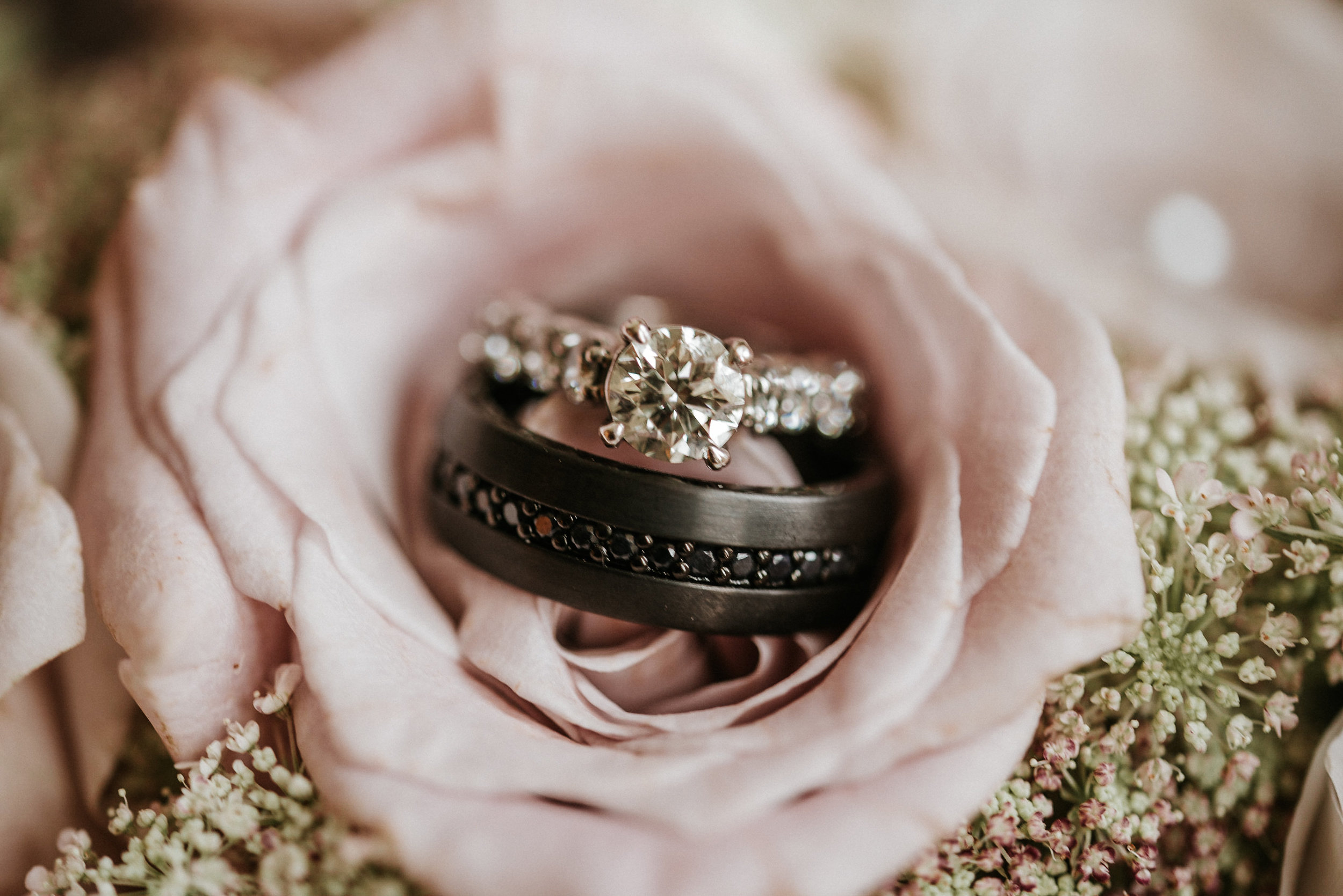 Wedding rings inside of pink rose