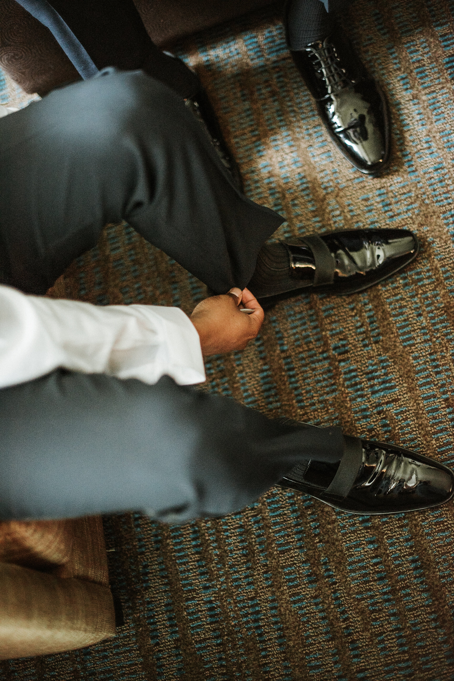 Groom's shoes from above