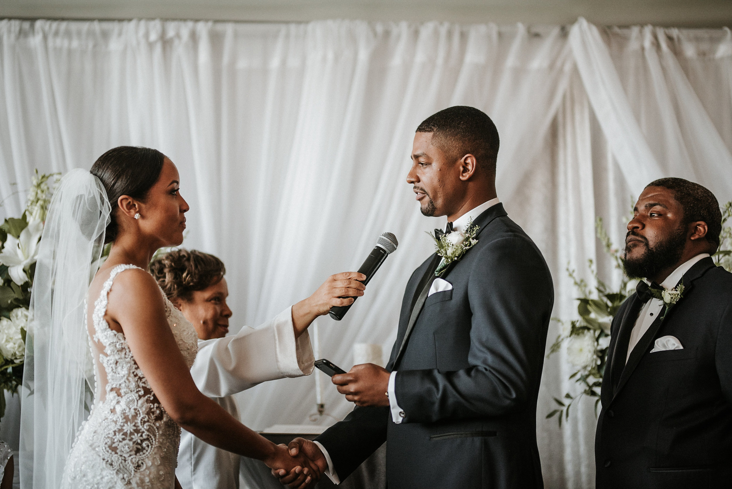 Groom reciting vows during ceremony