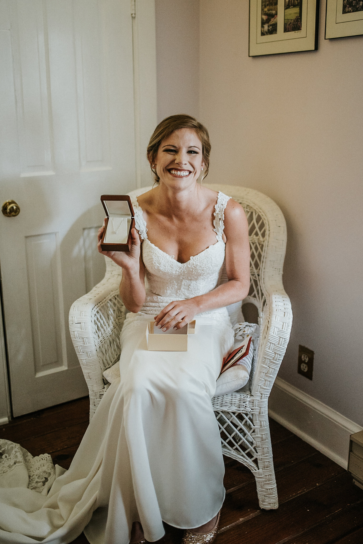 Bride with necklace from groom