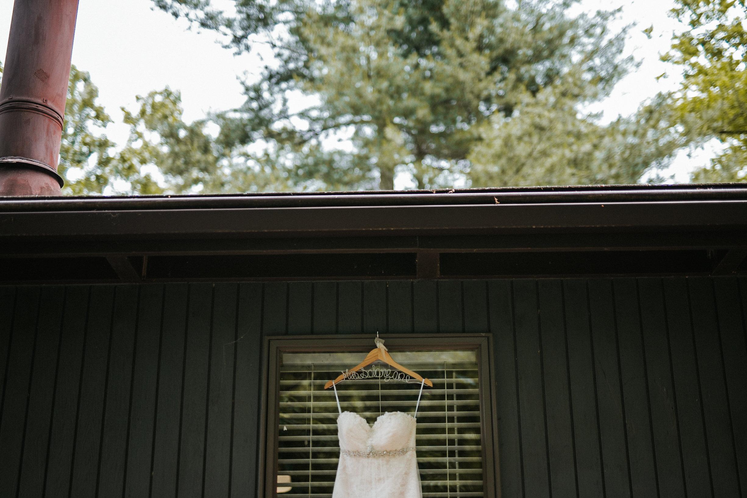 Bridal dress on hanger