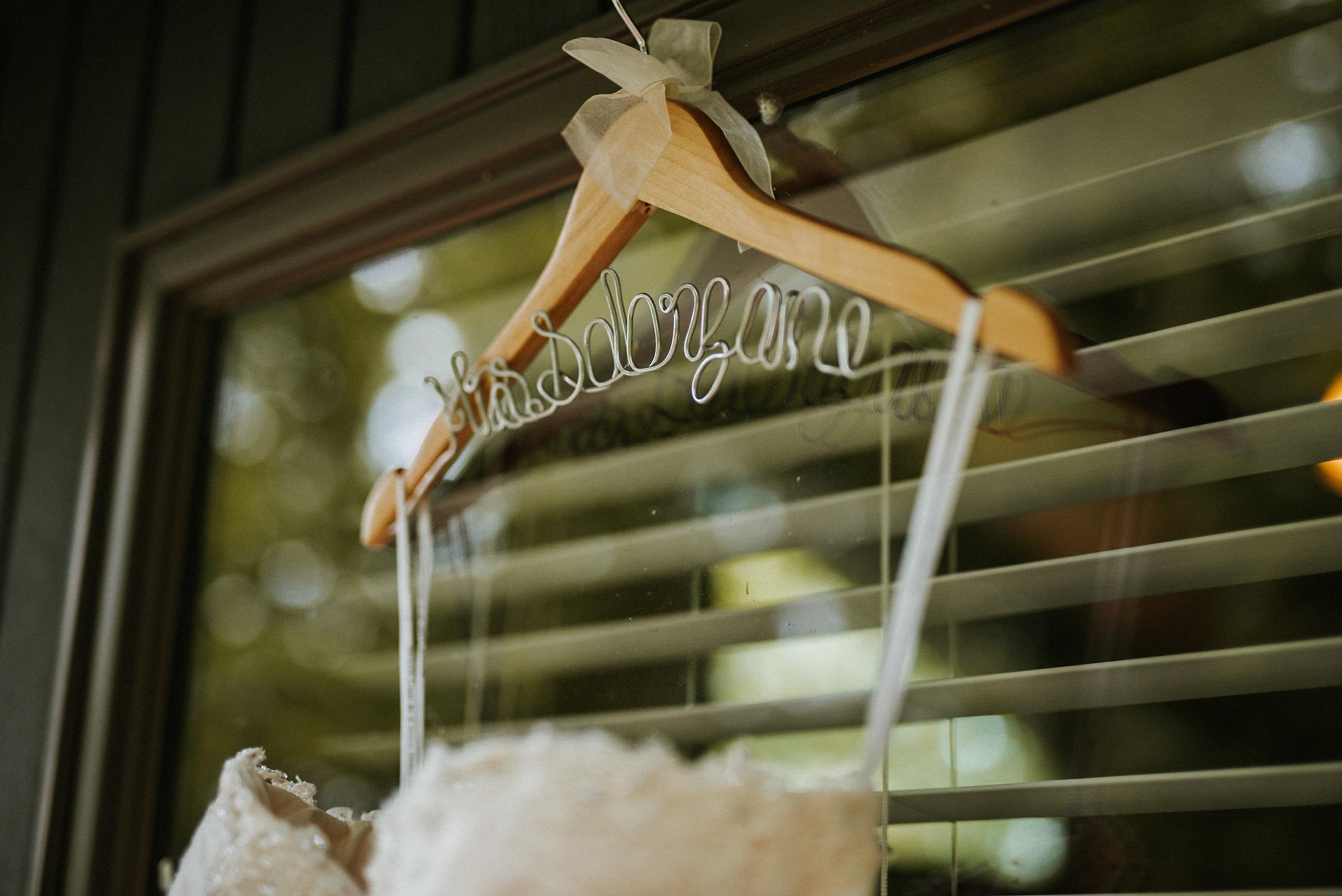Wedding dress on Mrs hanger