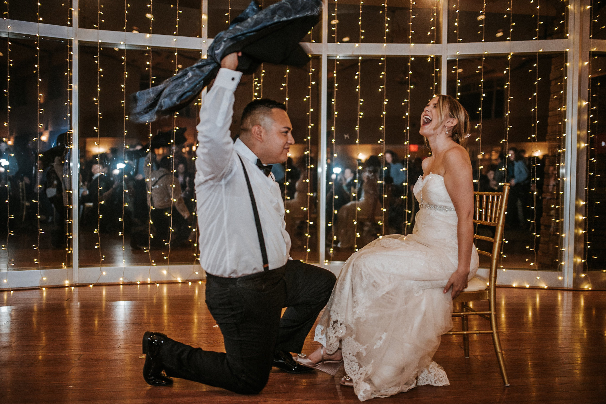 Garter toss at wedding reception