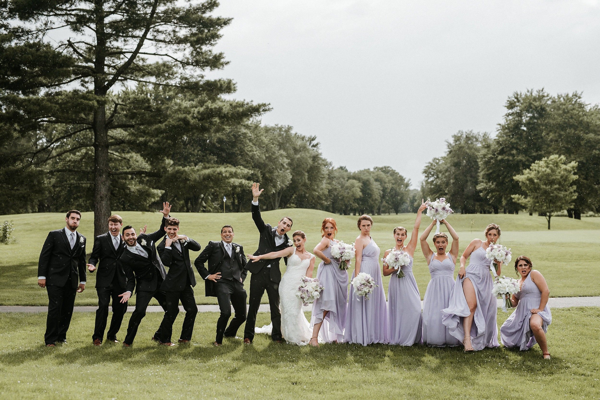 Bridal party funny photo on golf course