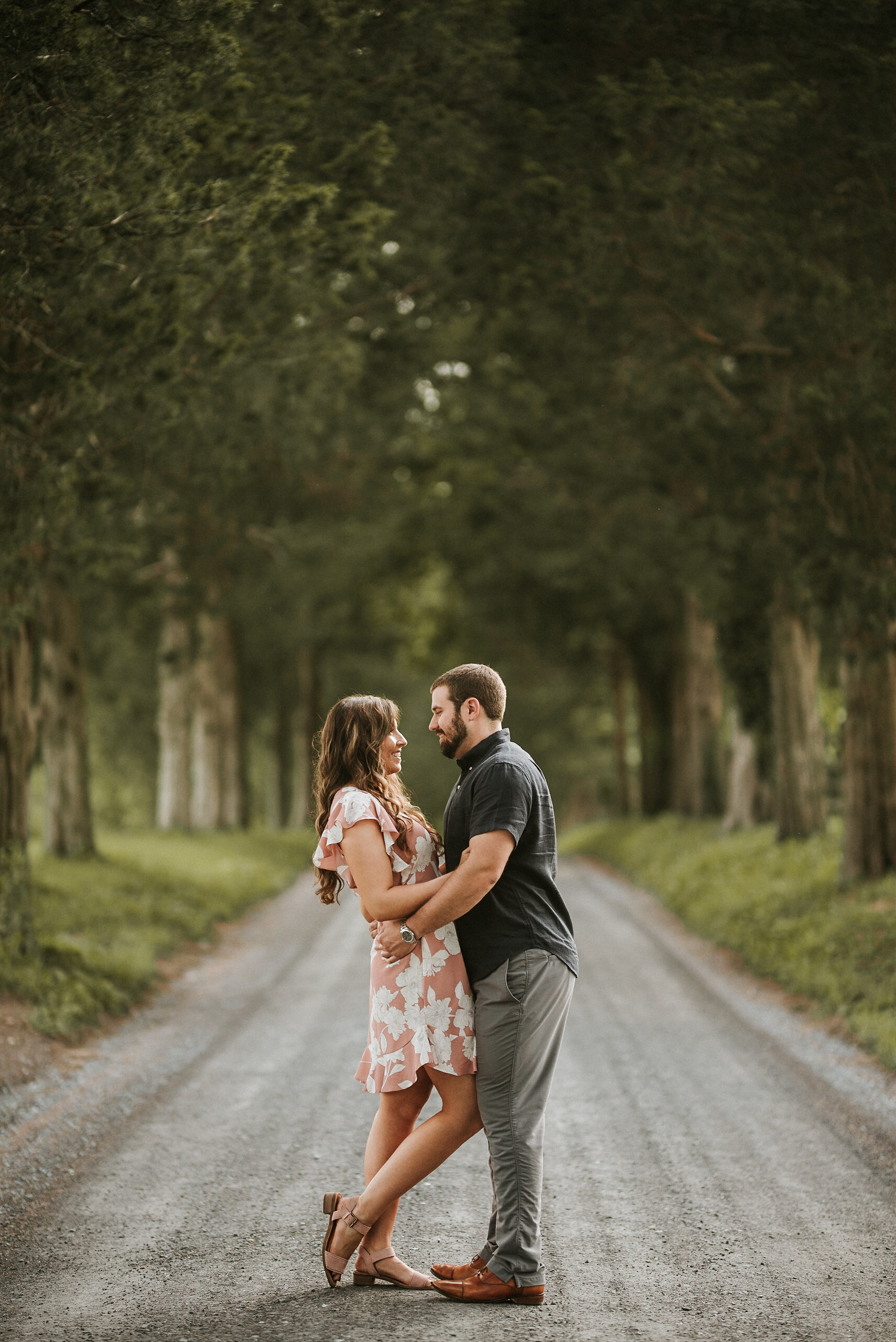 Engagement photo on gravel road