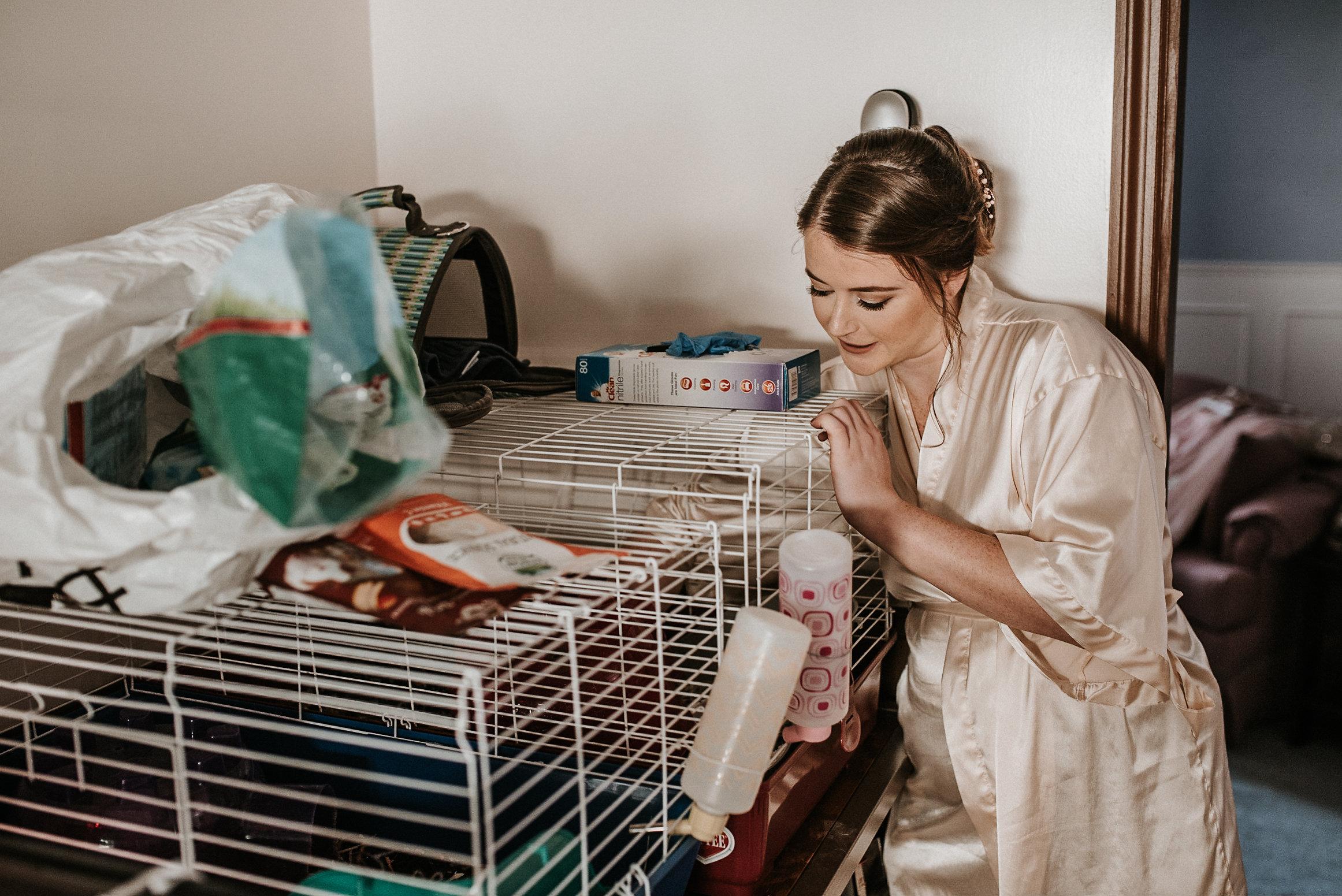 Bride feeding guinea pigs