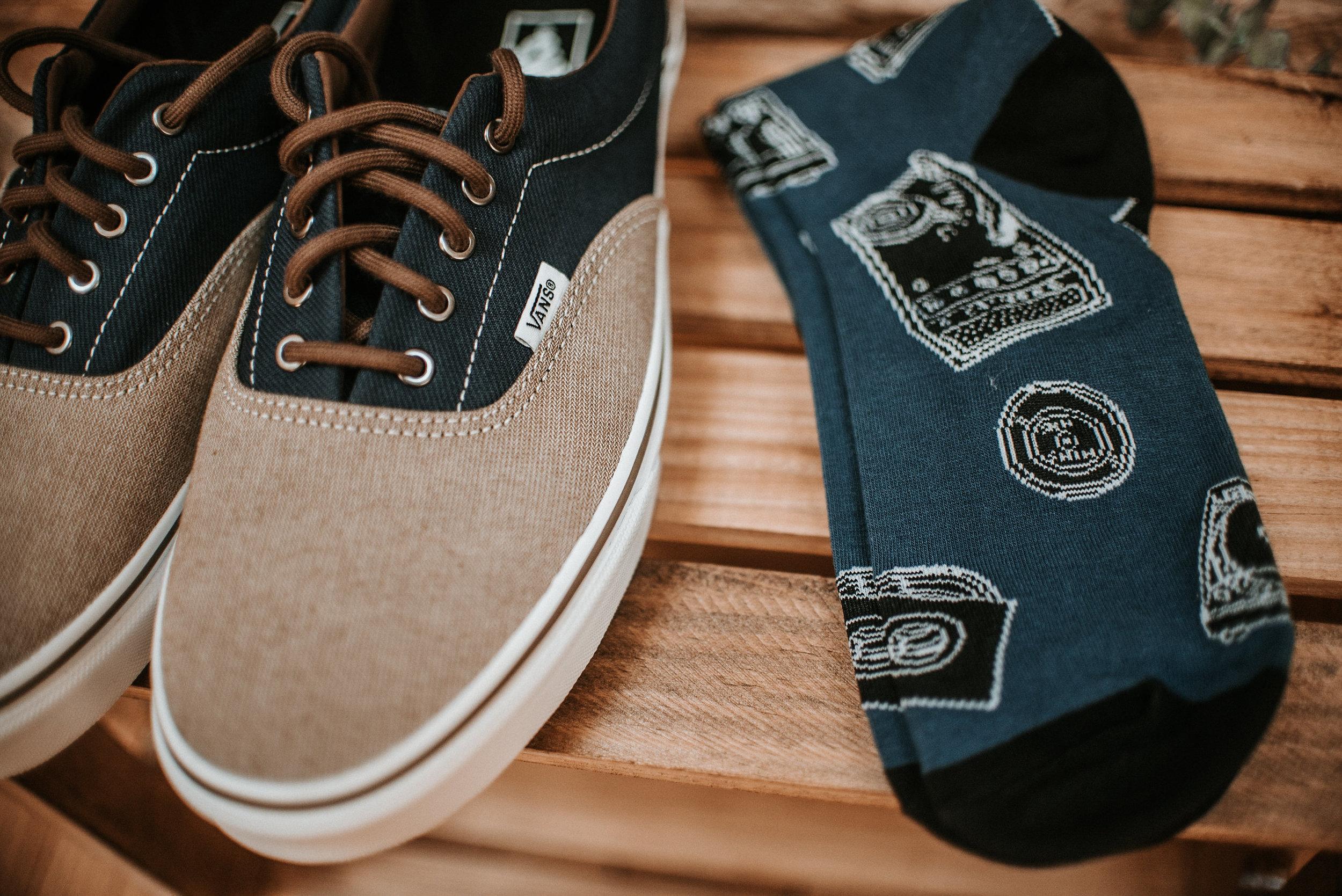 Groom's socks and vans