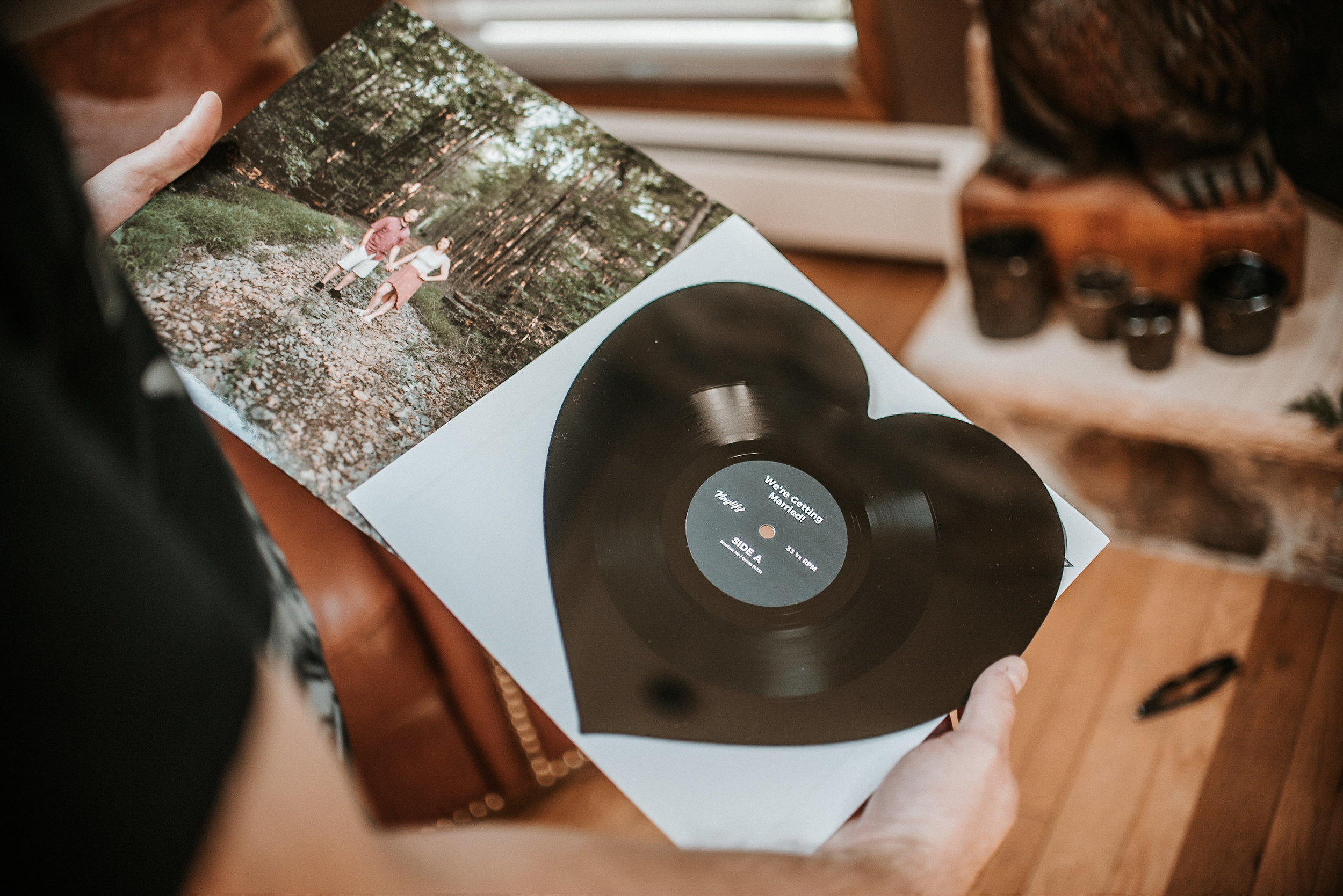 heart-shaped record and photo book