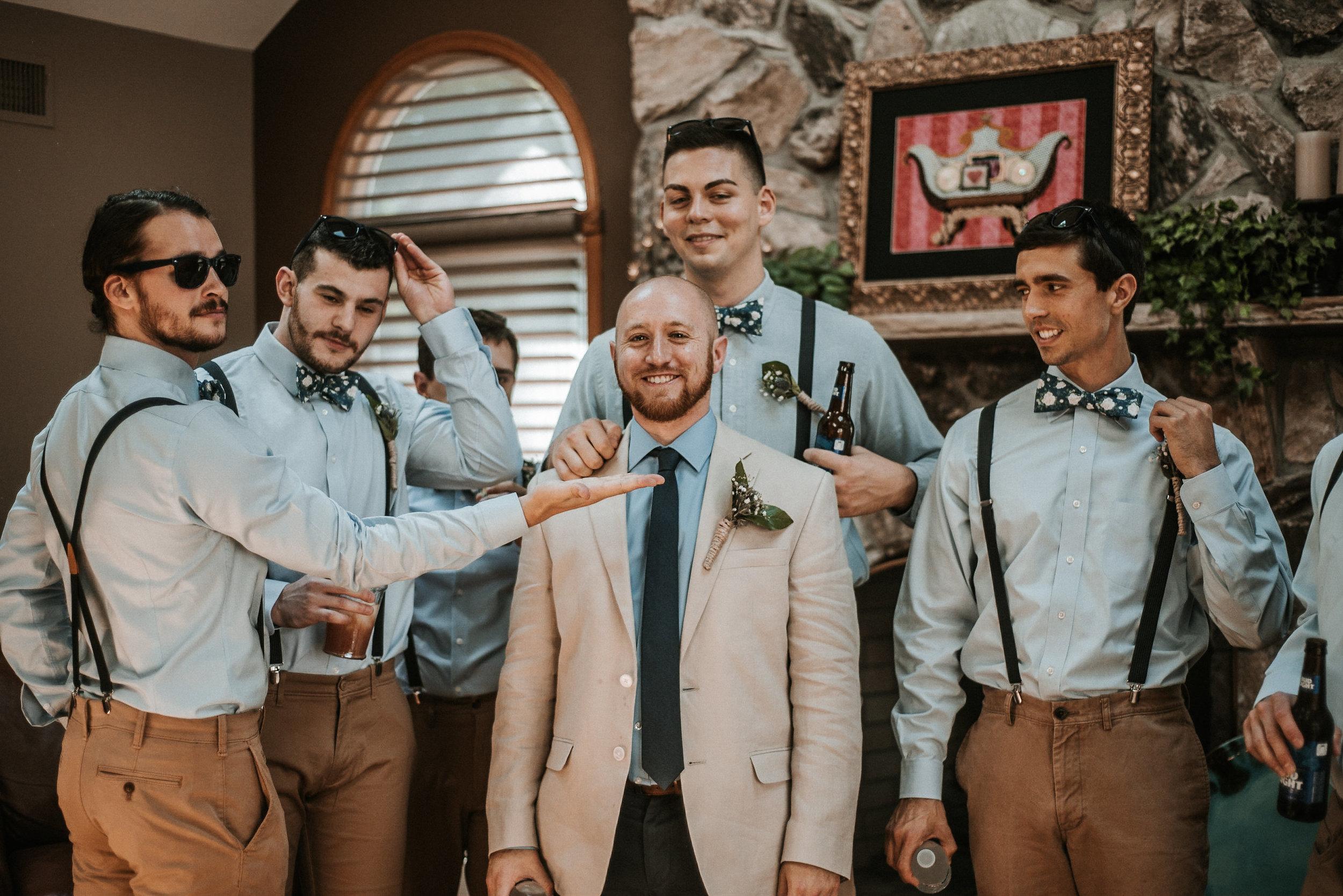 Groom and groomsmen before wedding