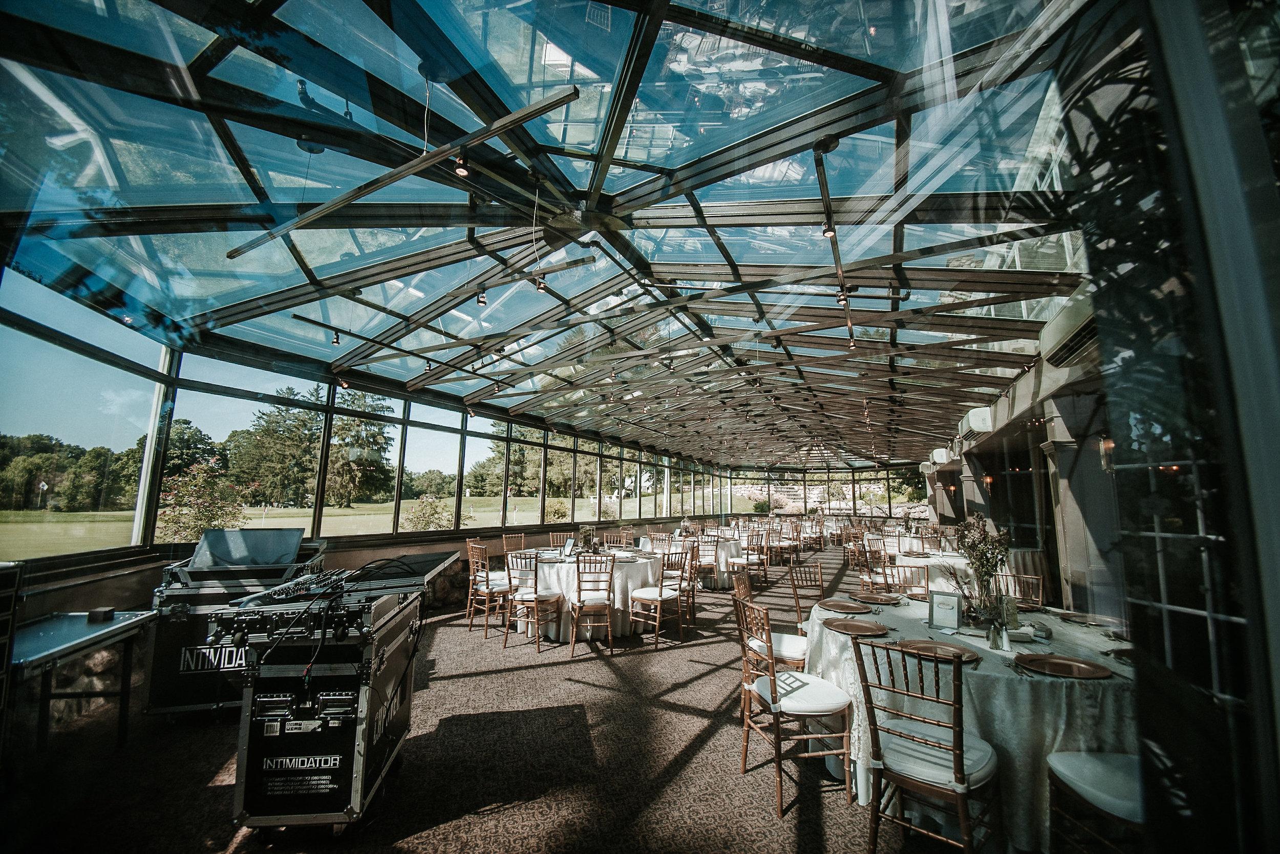 Glass atrium at country club
