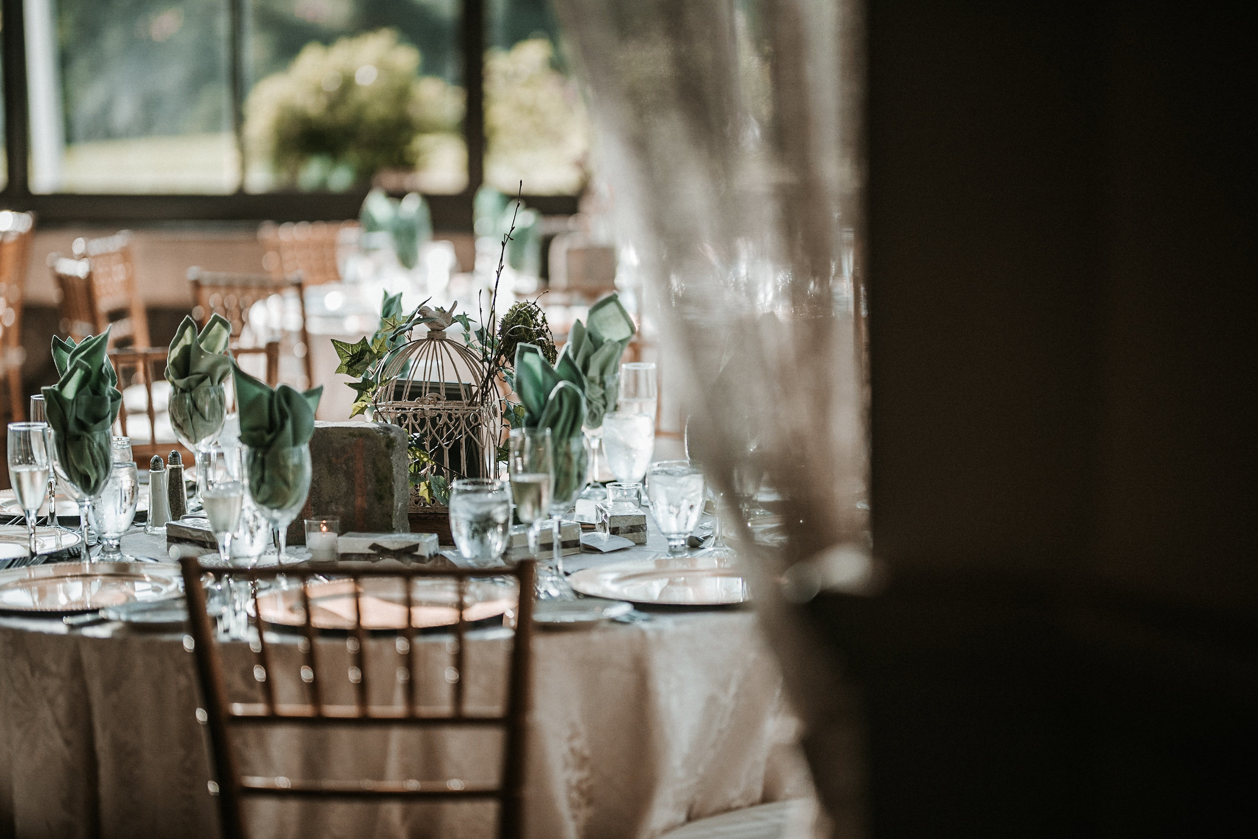 Woodland table settings for reception