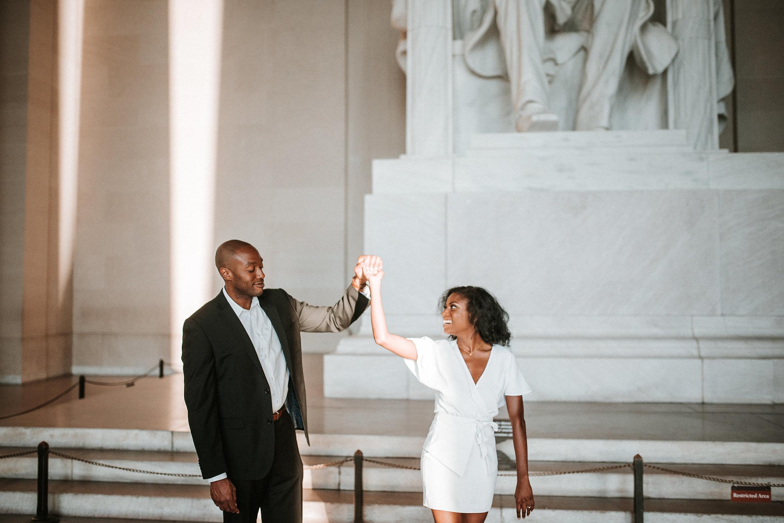 Couple dancing at Lincoln Memorial