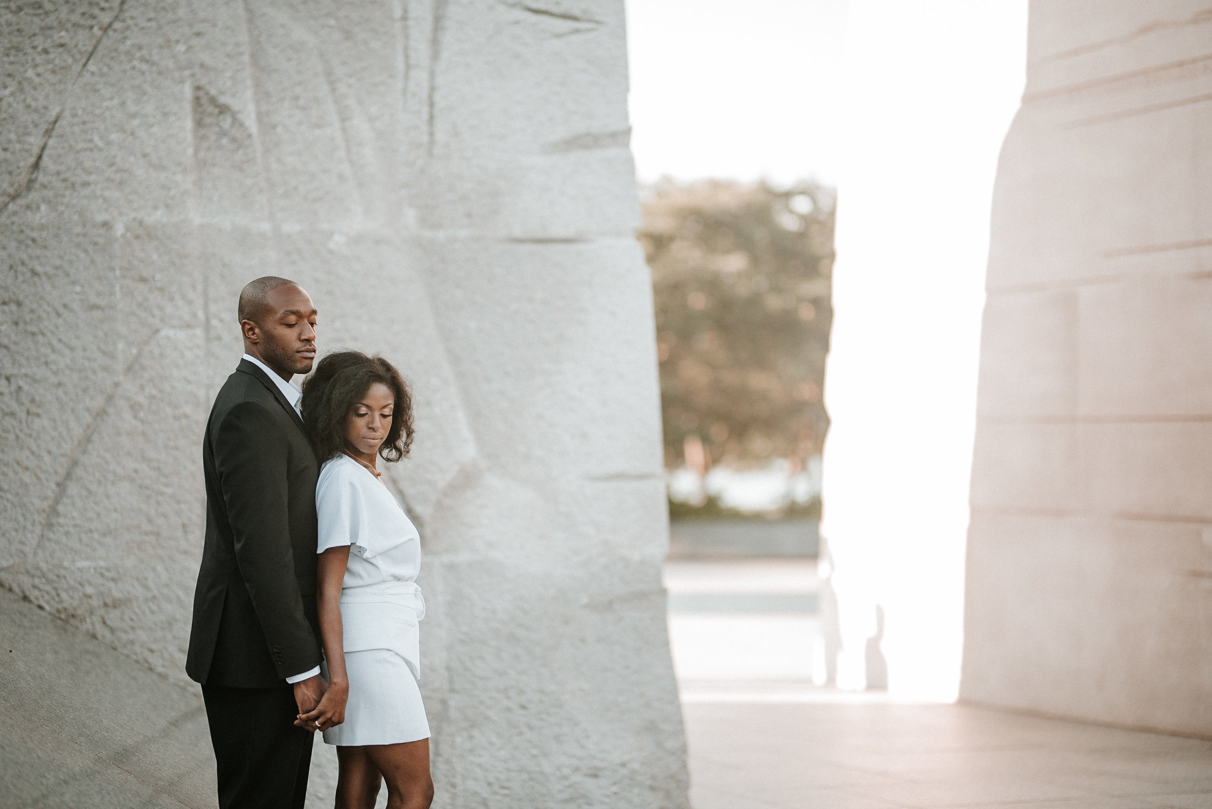 Engagement photo at Martin Luther King Jr Memorial