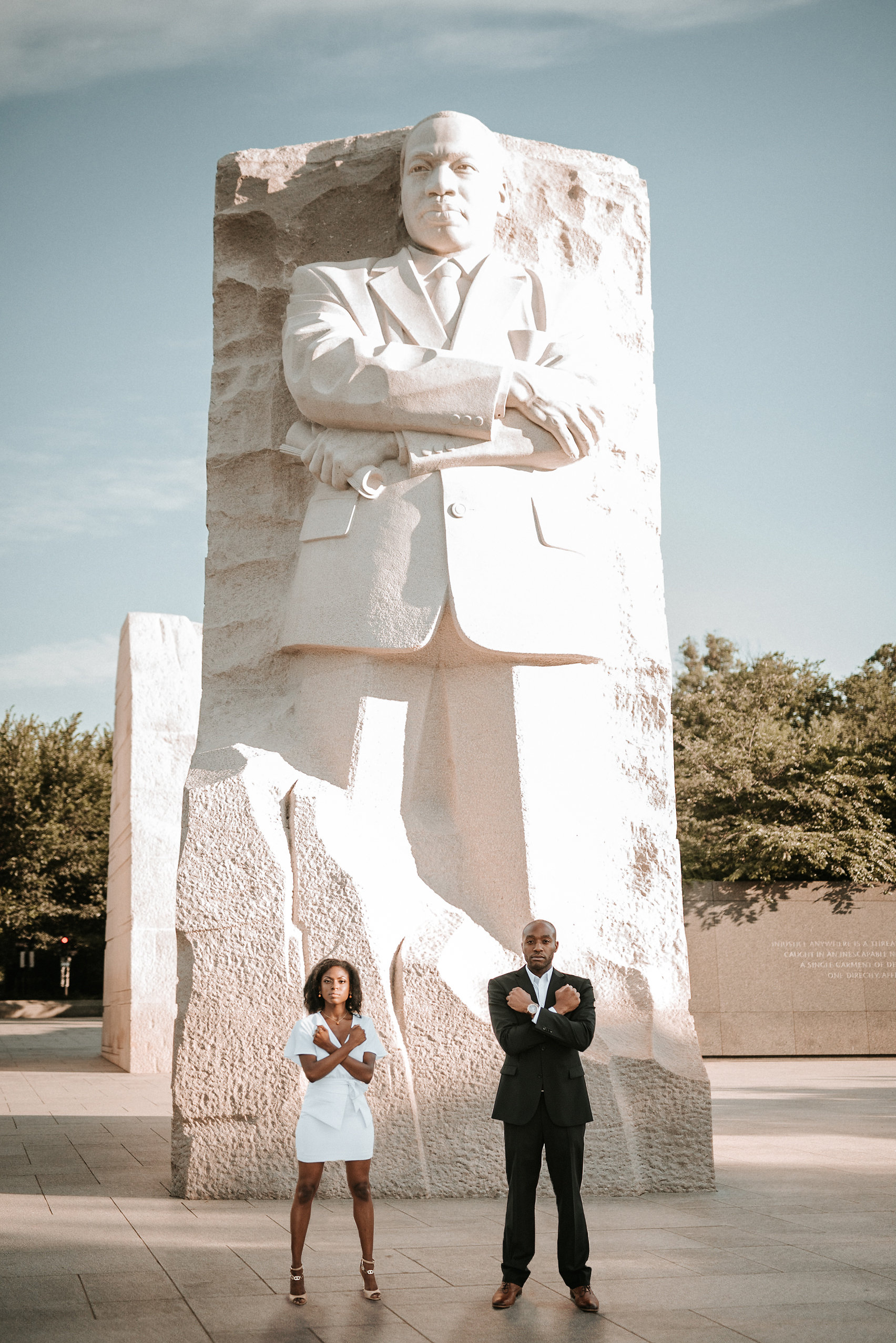 Couple in front of Martin Luther King Jr Memorial