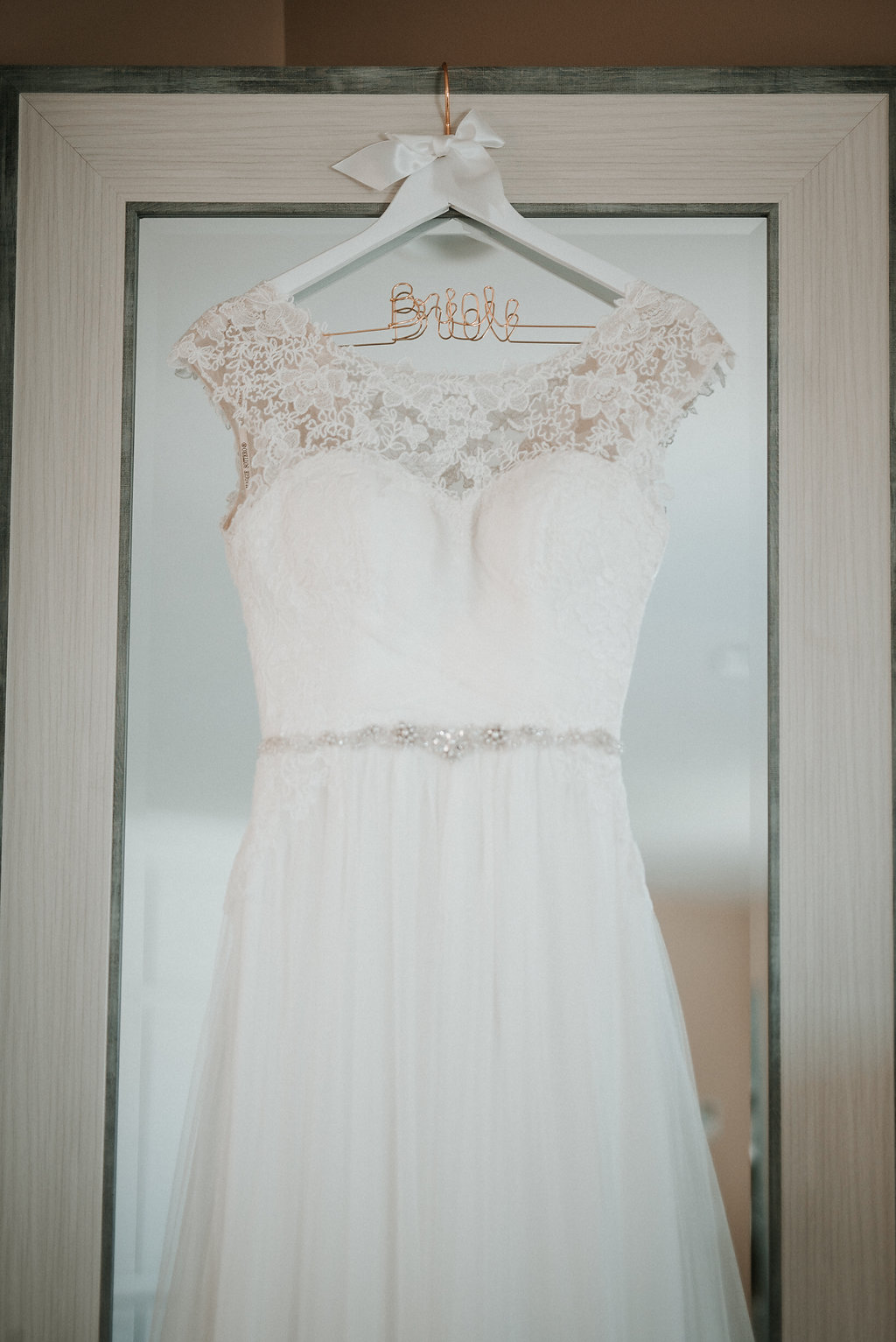 Wedding Dress Detail Shot at Crystal Point Yacht Club