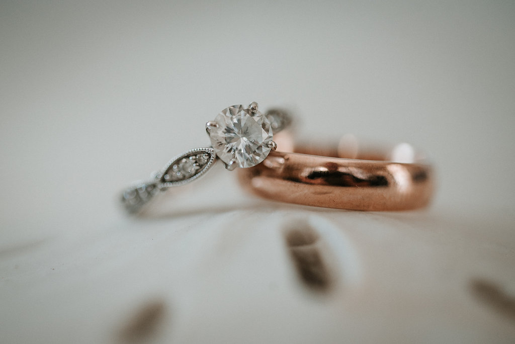 Wedding Rings Detail Shot at Crystal Point Yacht Club