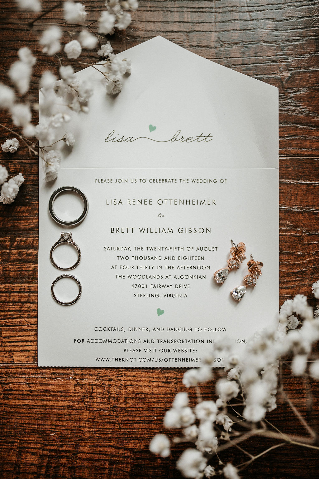 Wedding Detail Shot of Wedding Invitation at The Woodlands at Algonkian