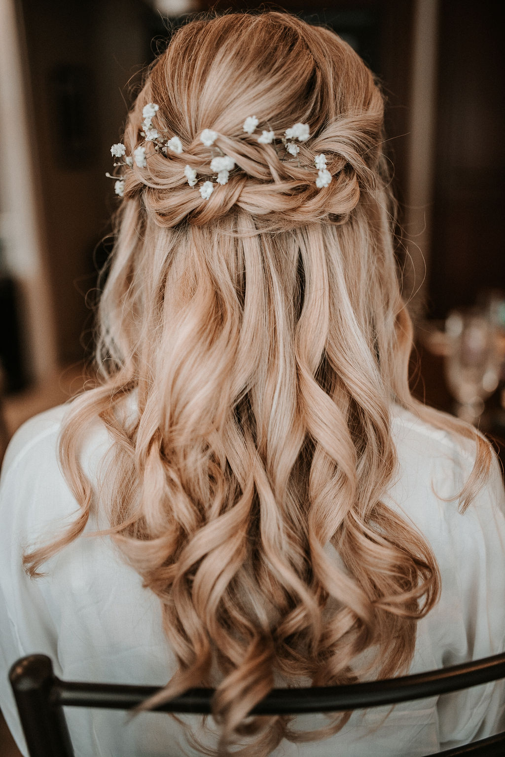 Wedding Detail Shot of Bride's Hair at The Woodlands at Algonkian