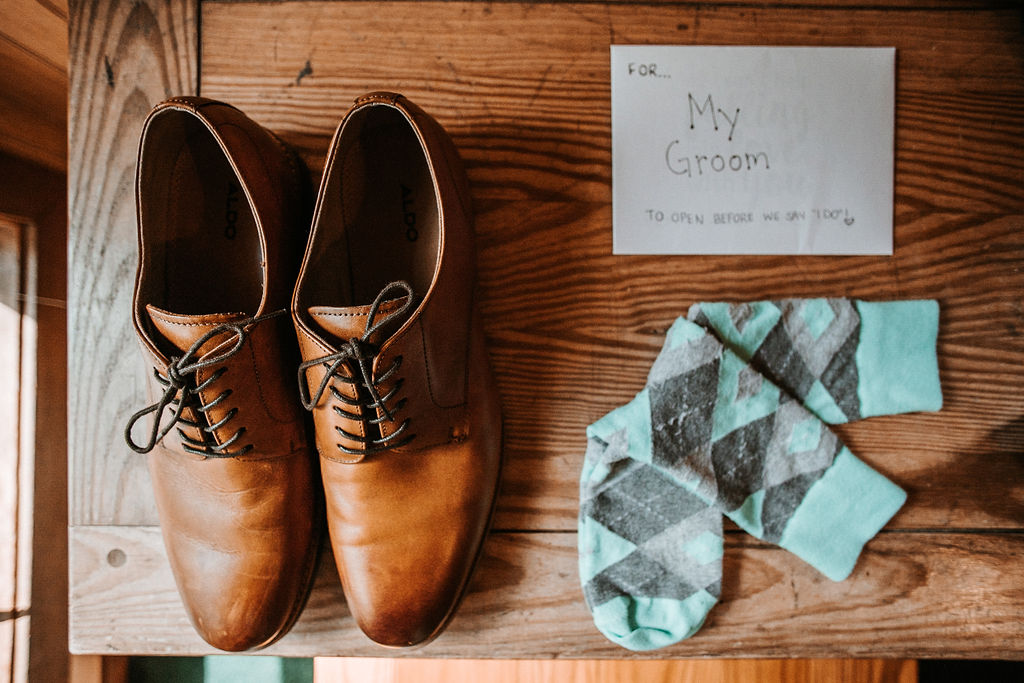 Detail Shot of Groom's Shoes and Socks at The Woodlands at Algonkian