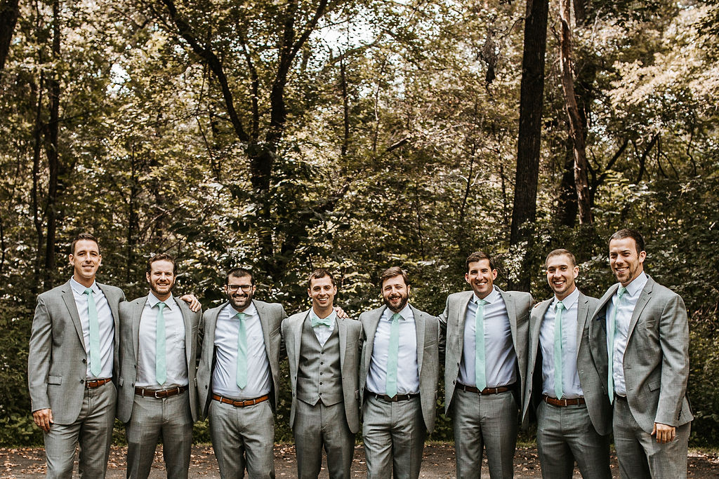 Groom and Groomsmen Posing at The Woodlands at Algonkian