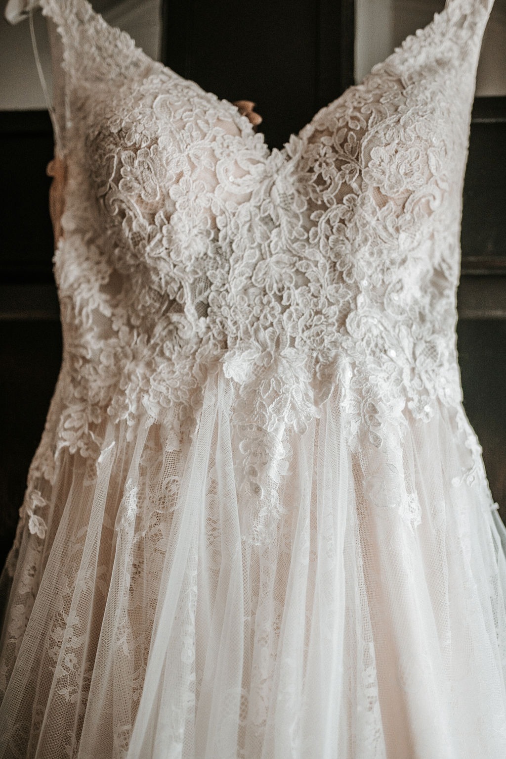 Wedding Dress Detail Shot at The Woodlands at Algonkian