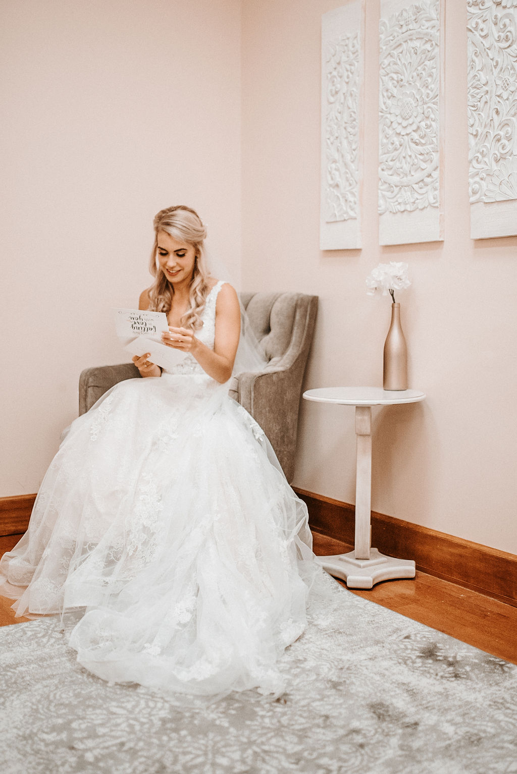 Bride Reading Letter from Groom at The Woodlands at Algonkian